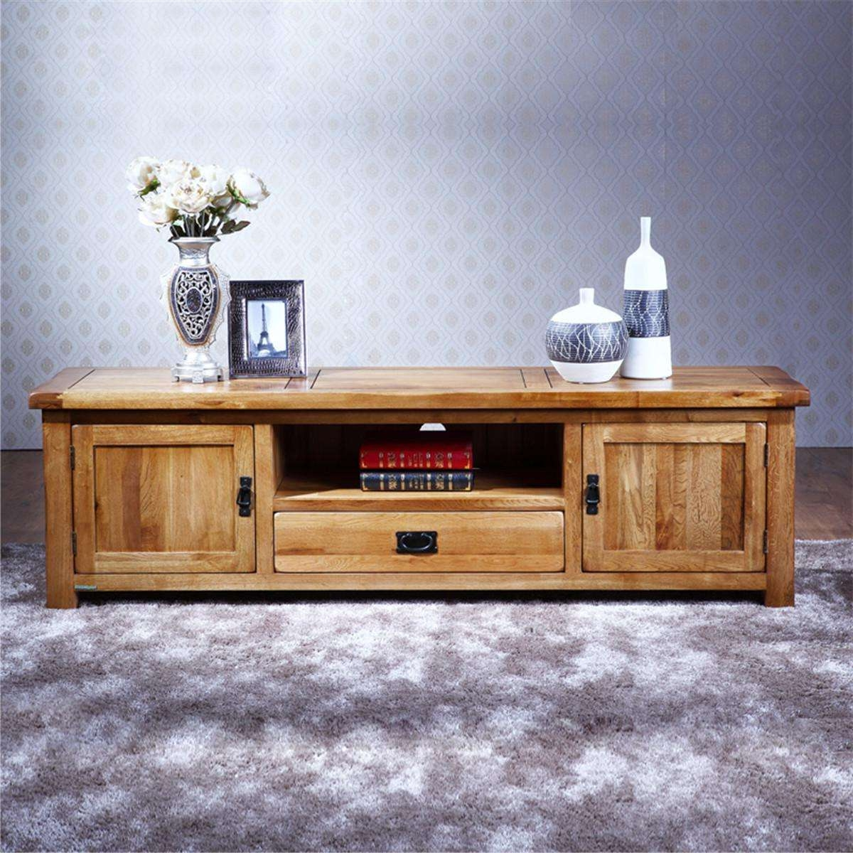 Pure Solid Wood Tv Stand Oak Media Console Inspirations Decoration In Wooden Tv Cabinets (View 4 of 20)