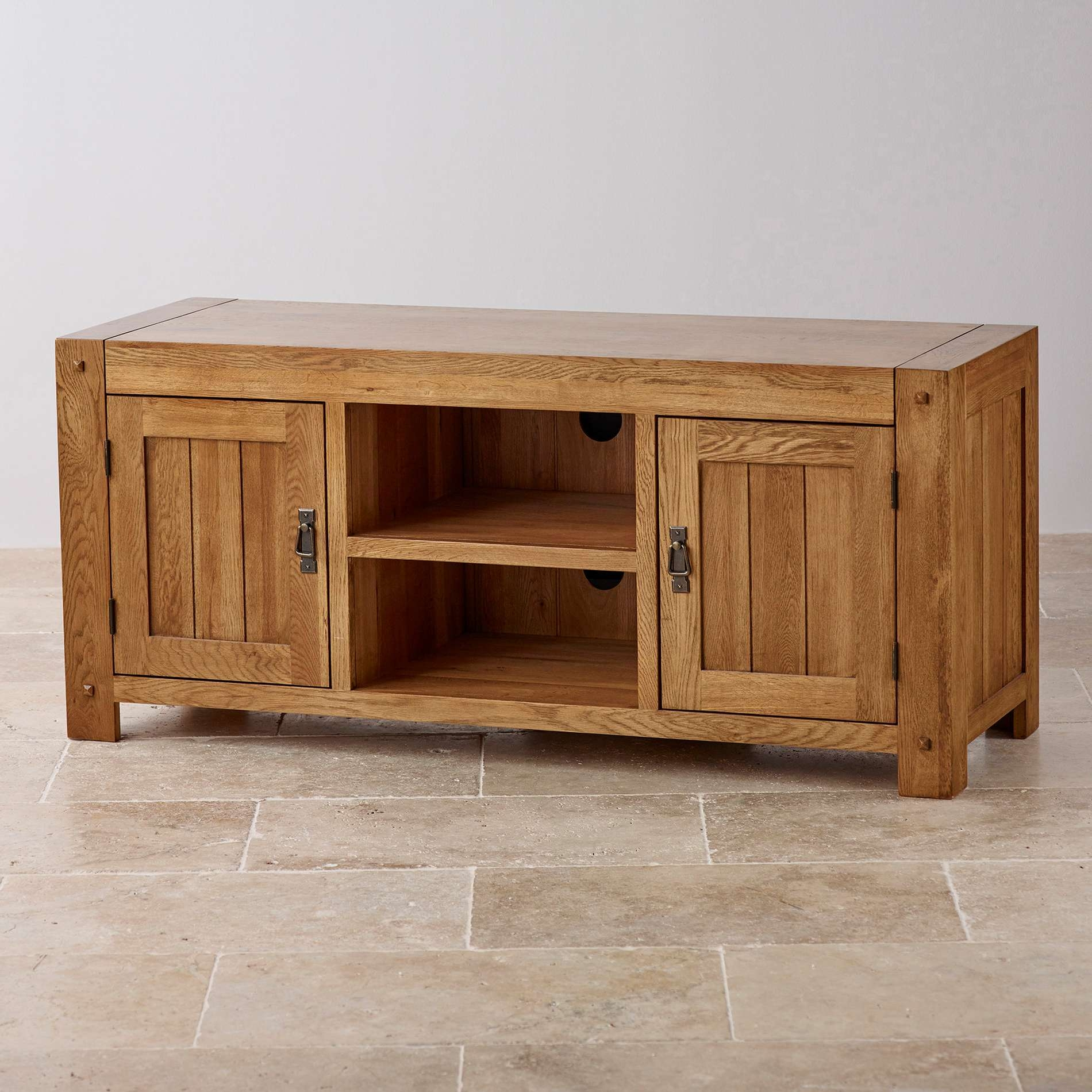 Quercus Wide Tv Cabinet In Rustic Solid Oak | Oak Furniture Land Inside Widescreen Tv Cabinets (Gallery 5 of 20)