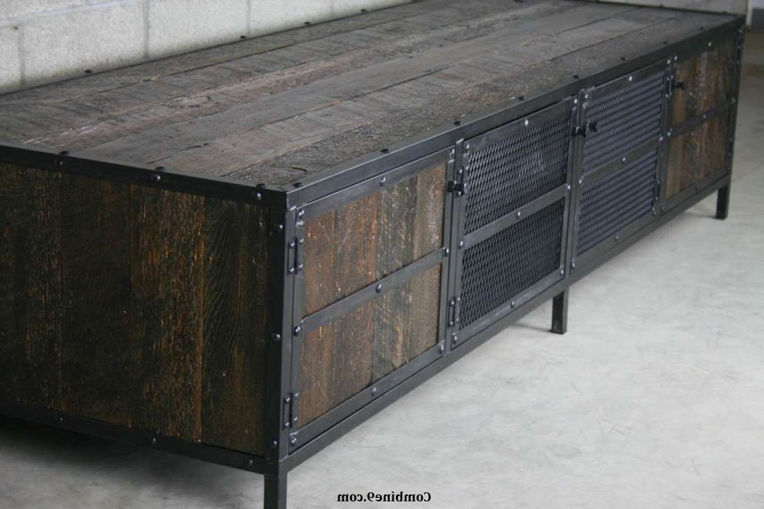 Rack Industrial Media Cabinet Reclaimed Wood Tv Stand Excellent Inside Industrial Metal Tv Stands (View 9 of 15)