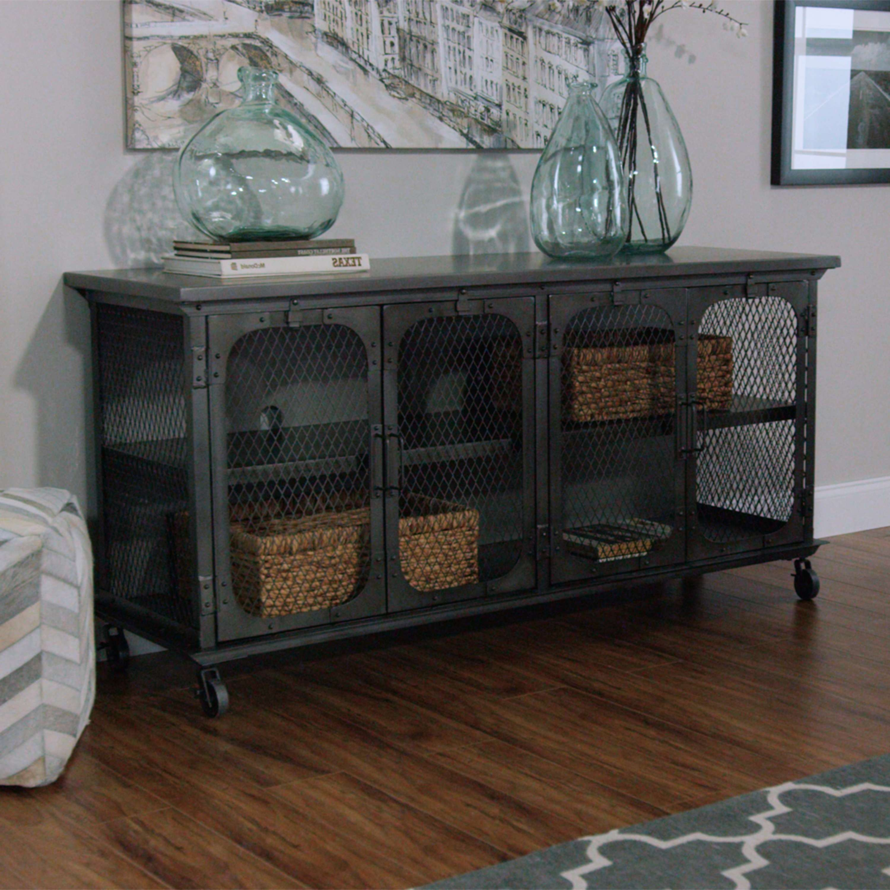 Rack Metal Bexley Storage Cabinet Discover More Ideas About Large Regarding Industrial Metal Tv Stands (View 10 of 15)