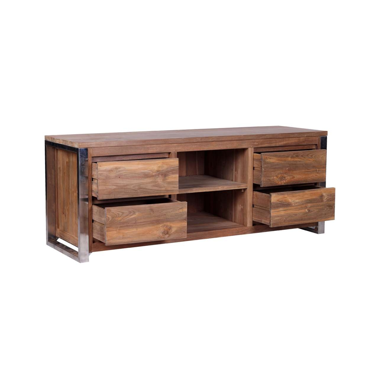 Rarem Reclaimed Wood Tv Stand – Reclaimed Teak And Stainless Steel Intended For Wood And Metal Tv Stands (View 10 of 15)