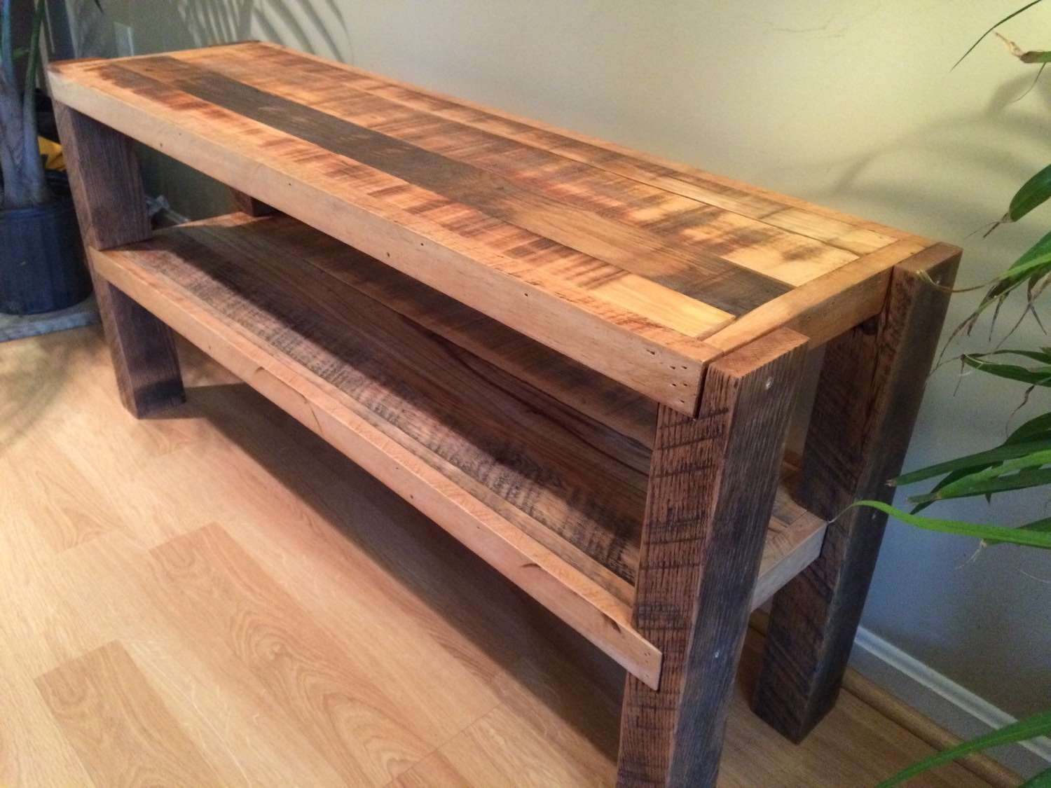 Reclaimed Wood Notched Leg Media Console / Tv Stand W/ Pertaining To Recycled Wood Tv Stands (View 10 of 15)