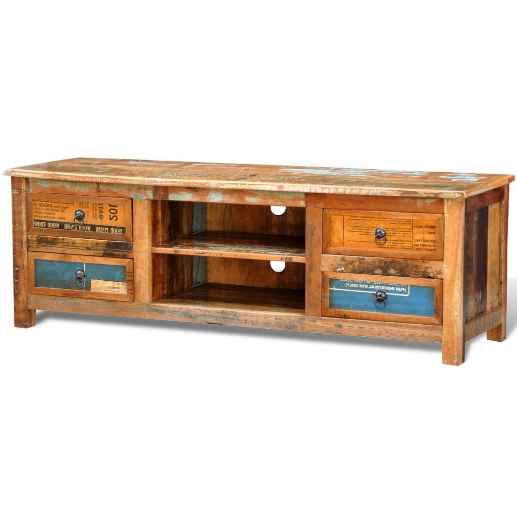 Reclaimed Wood Tv Cabinet Tv Stand 4 Drawers | Vidaxl.co (View 11 of 15)