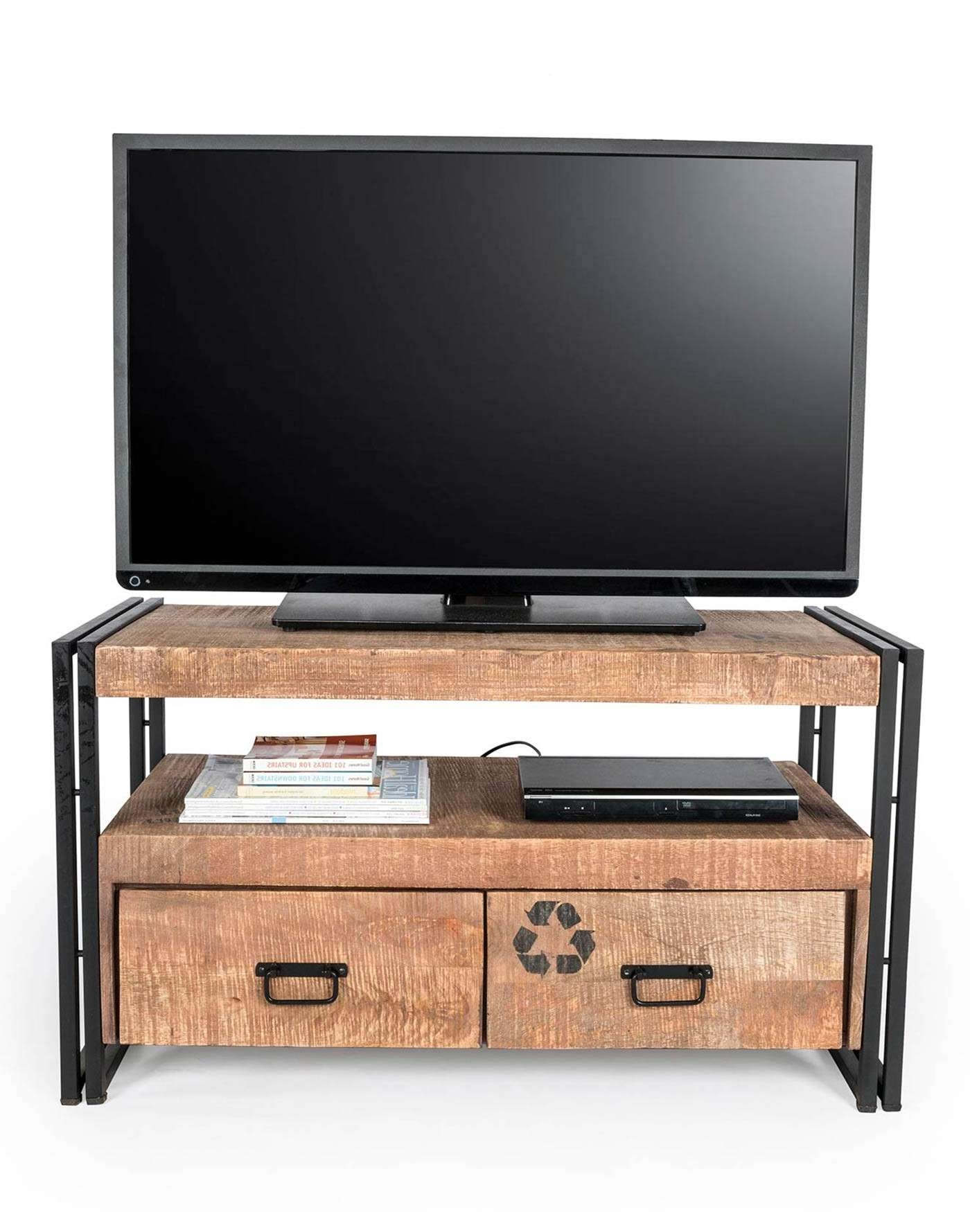 Reclaimed Wood Tv Stand Industrial Furniture Range – Homescapes For Industrial Tv Stands (View 14 of 15)