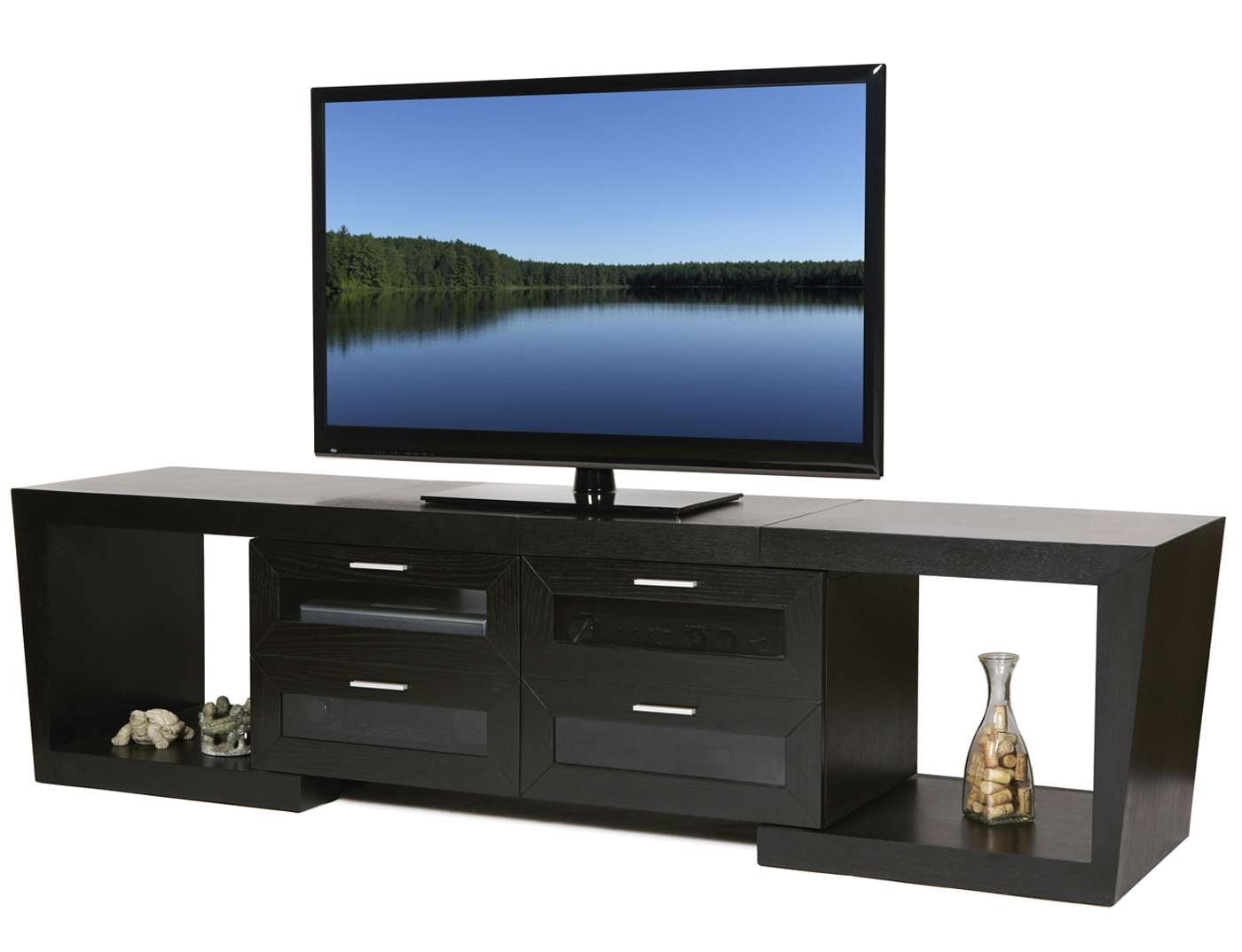 Rectangle Black Narrow Short Tv Stand With Square Shelves And Pertaining To Modern Tv Stands For Flat Screens (View 7 of 15)