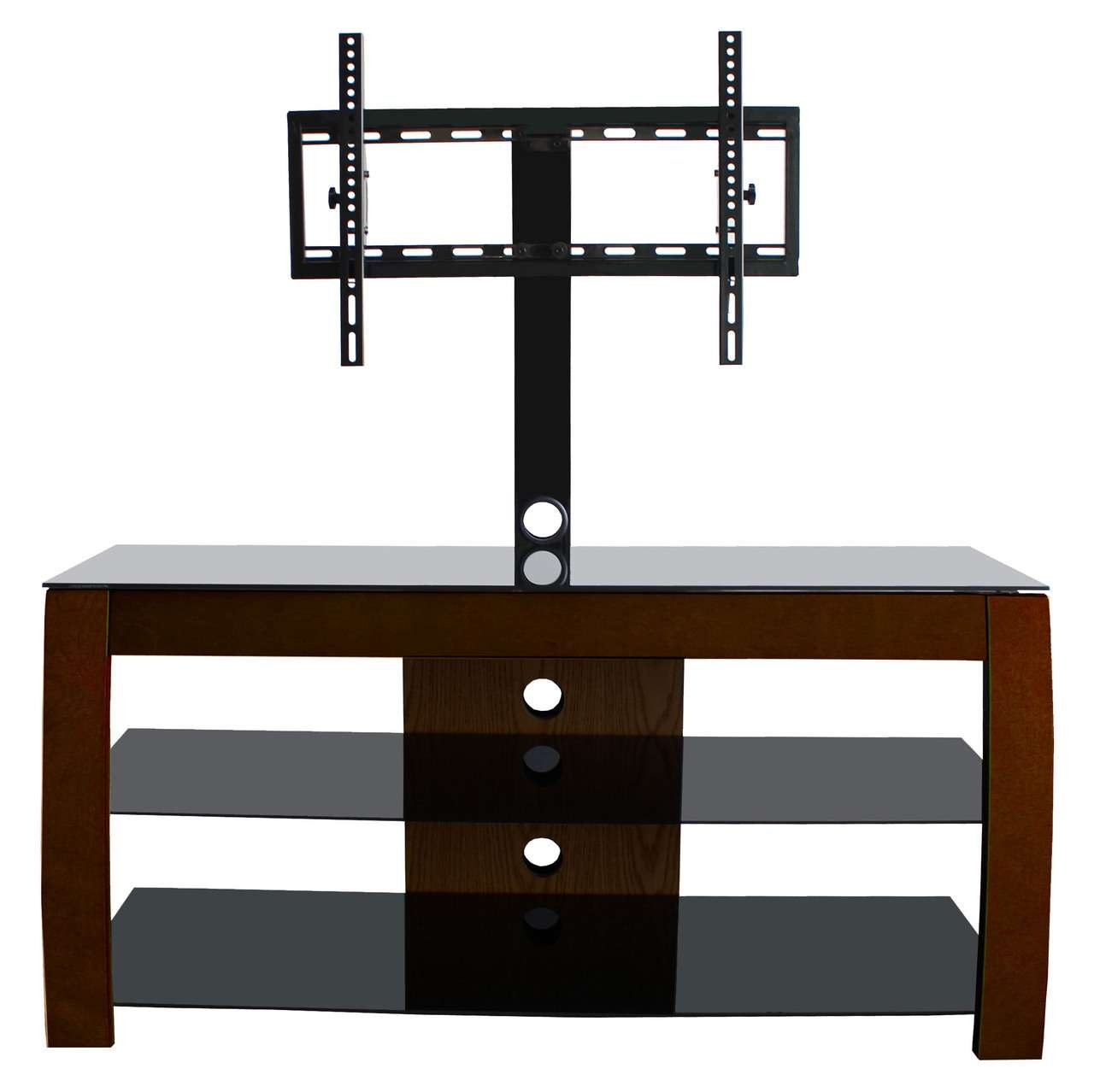 Rectangle Dark Brown Wooden Tv Stand With Black Glass Shelves And Inside Swivel Black Glass Tv Stands (View 5 of 15)
