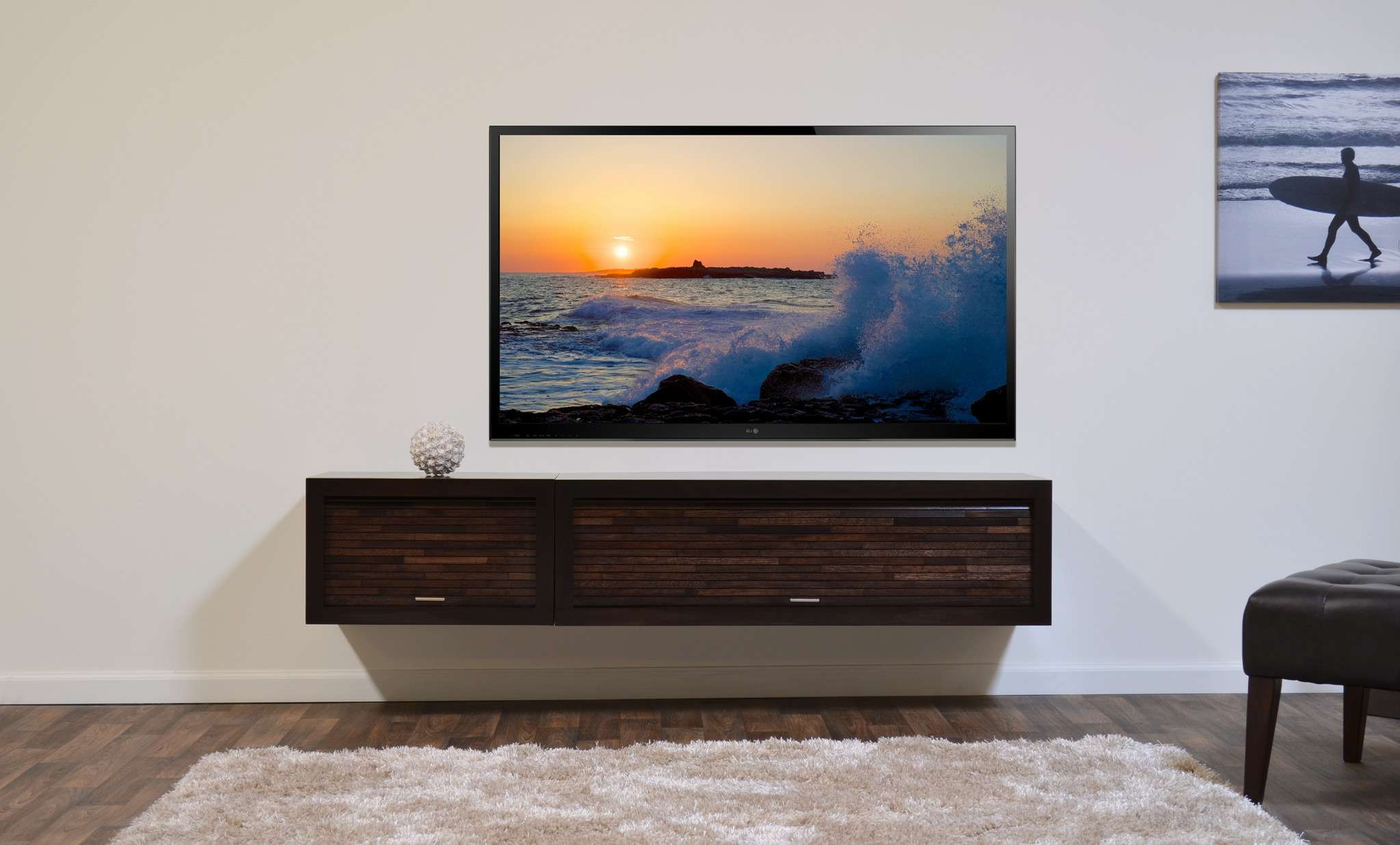 Rectangular Led Tv On Over Brown Wooden Cabinet On White Wall Inside White Wall Mounted Tv Stands (View 9 of 15)