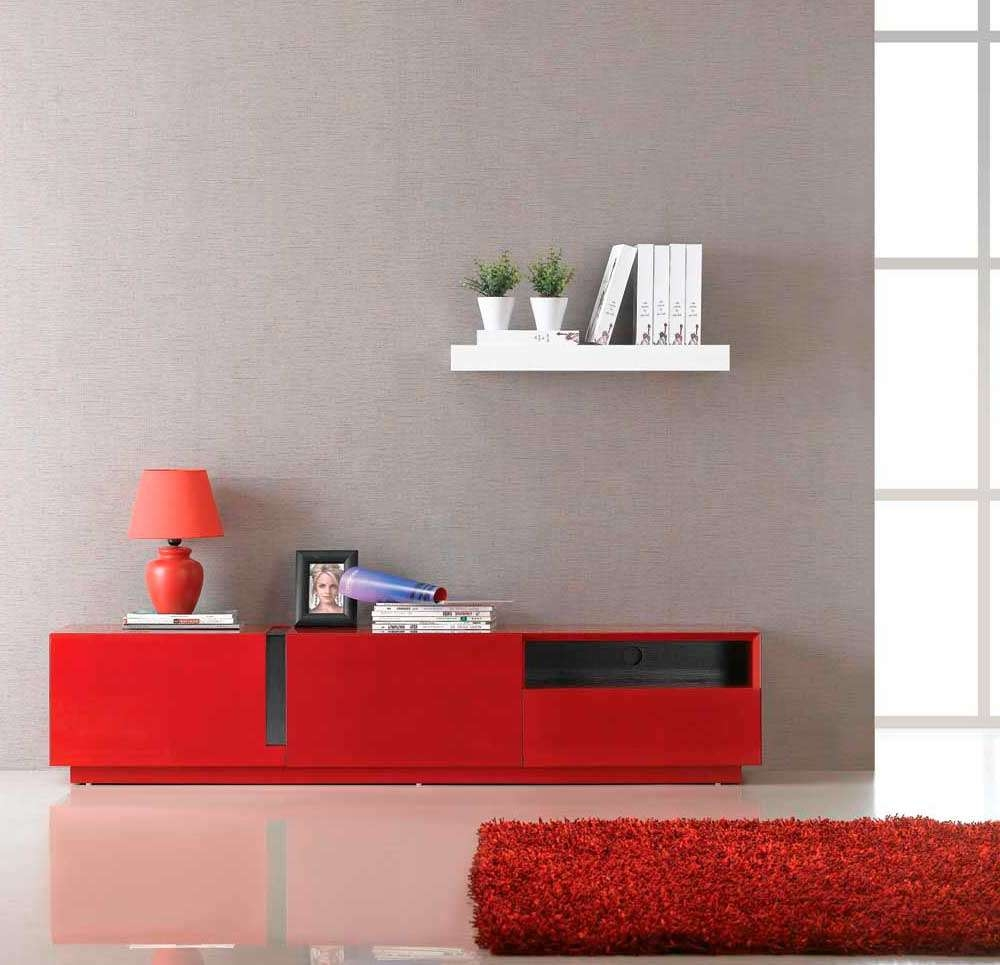 Red High Gloss Tv Unit Sj027 | Tv Stands Regarding Black And Red Tv Stands (View 13 of 15)