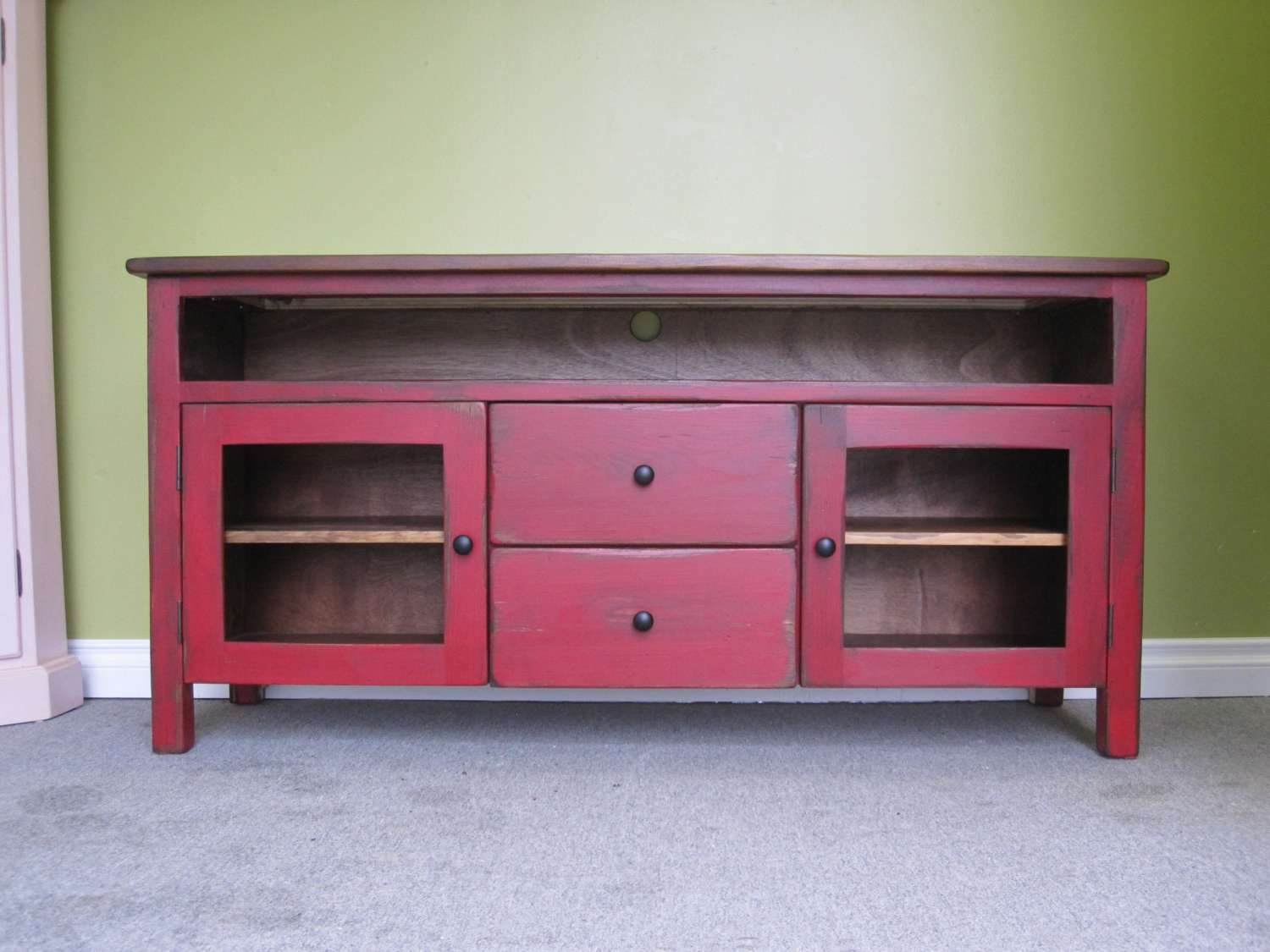 Red Tv Stand / Wooden 60 Long Tv Console / Cottage Pertaining To Sideboard Tv Stands (View 10 of 20)