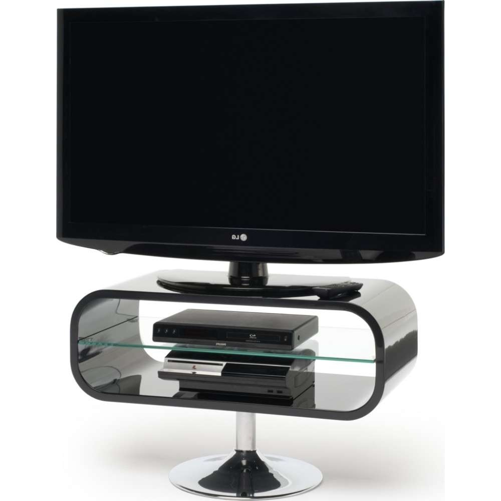 Retro Chrome Pedestal; Quick To Assemble; Displays Up To 42 Inside Ovid Tv Stands Black (View 8 of 20)