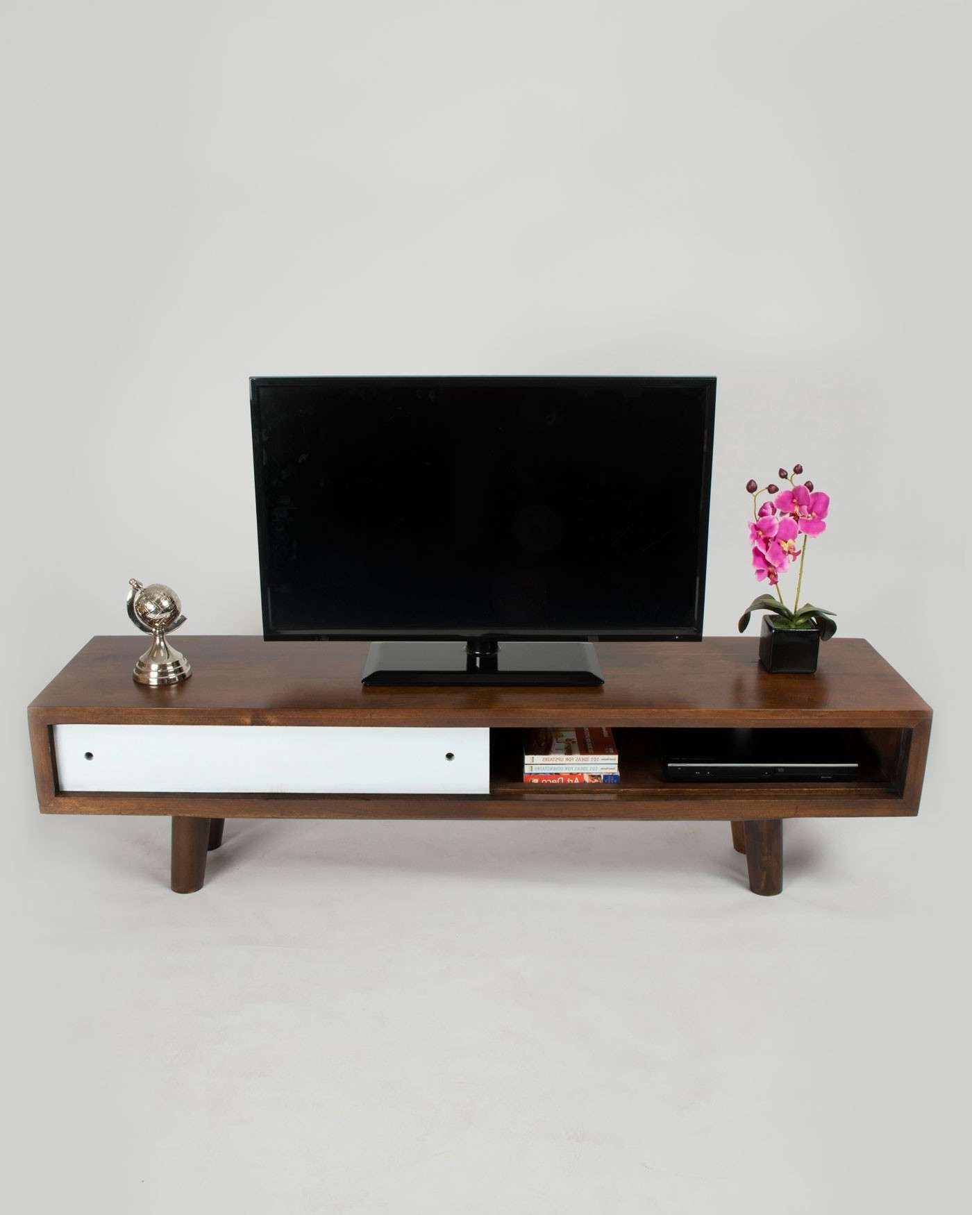 Retro Mid Century Dark Wood Tv And Media Unit With White Sliding Intended For Dark Wood Tv Stands (View 12 of 20)