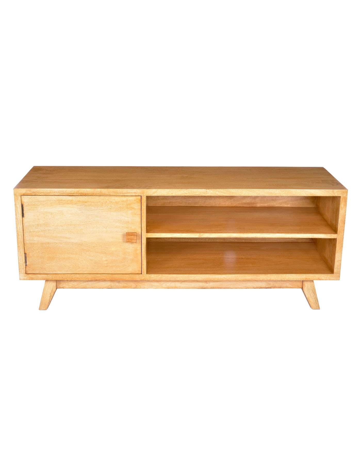 Retro Wooden Tv Stand With Shelf 100% Solid Mango Wood Oak Shade Intended For Hard Wood Tv Stands (View 12 of 15)