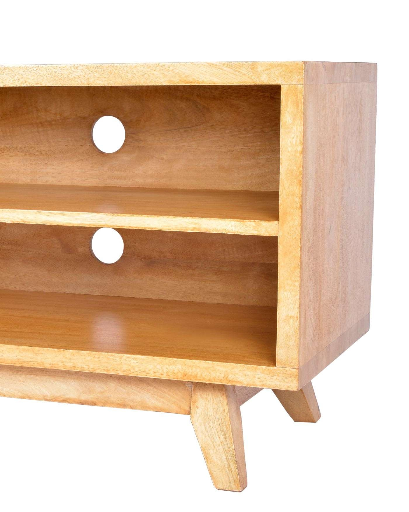 Retro Wooden Tv Stand With Shelf 100% Solid Mango Wood Oak Shade With Wooden Tv Stands (View 11 of 15)