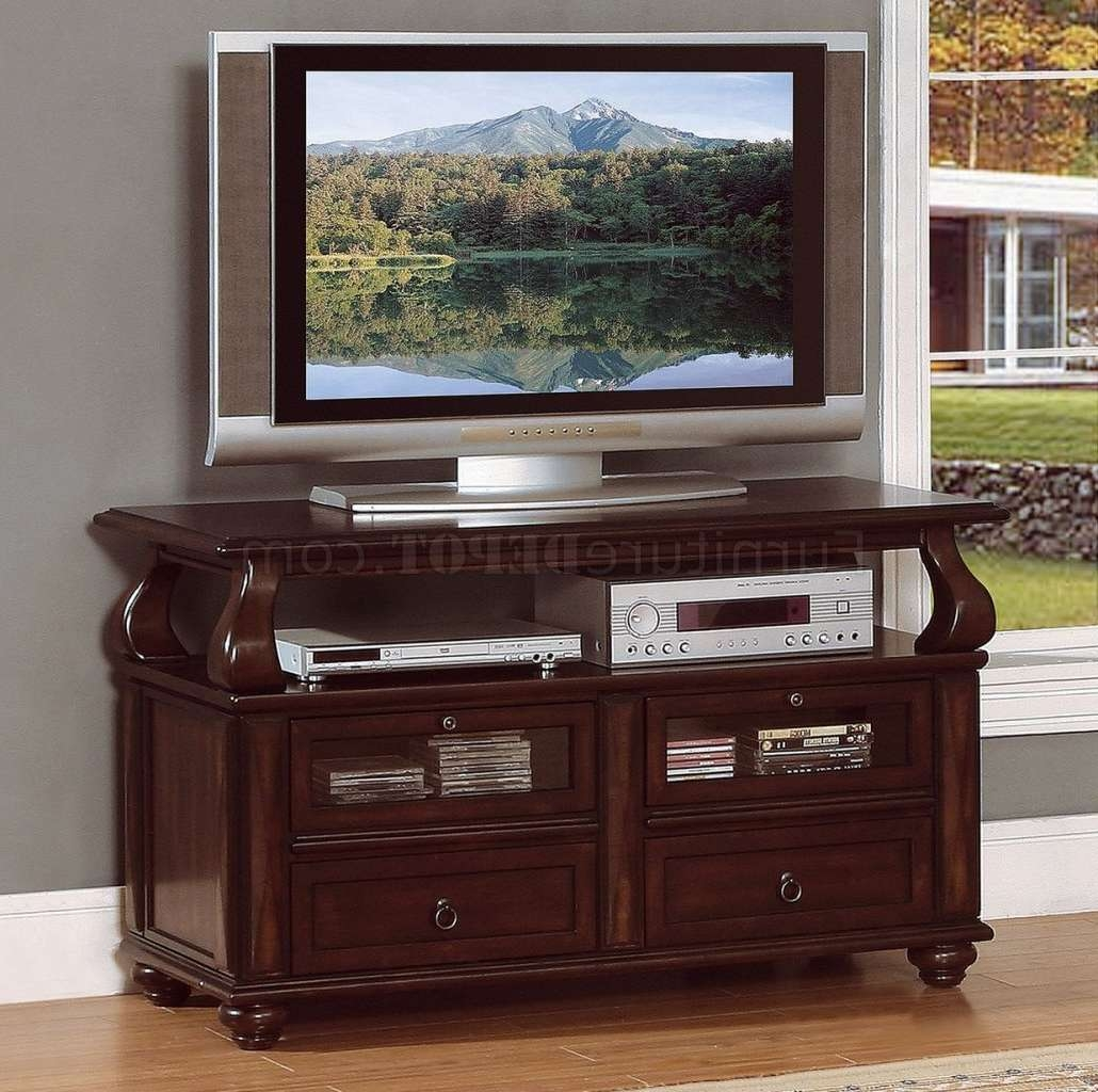 Rich Brown Cherry Finish Traditional Tv Stand W/pull Out Shelves In Cherry Tv Stands (View 12 of 15)