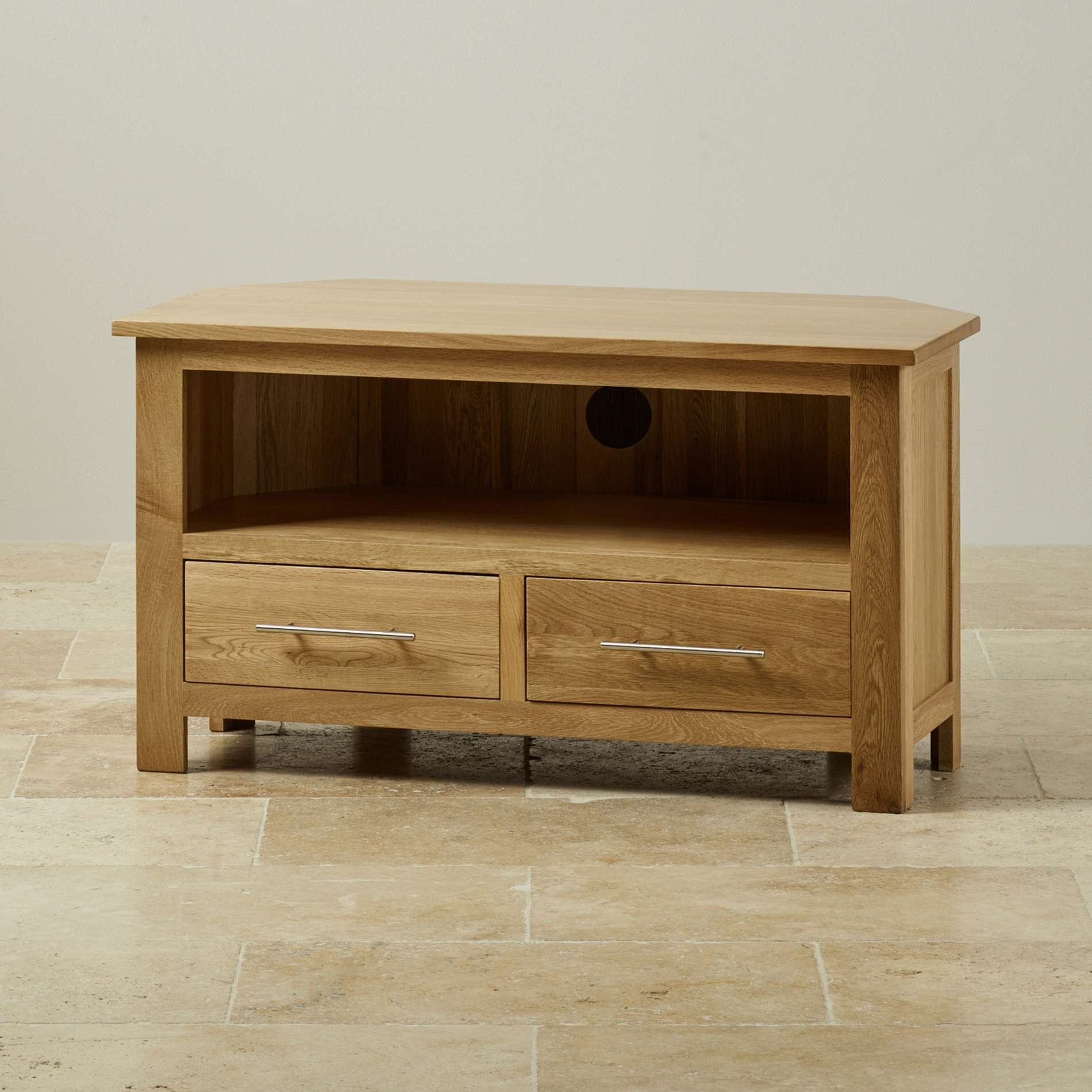Rivermead Corner Tv Cabinet In Solid Oak | Oak Furniture Land Throughout Oak Corner Tv Cabinets (View 17 of 20)
