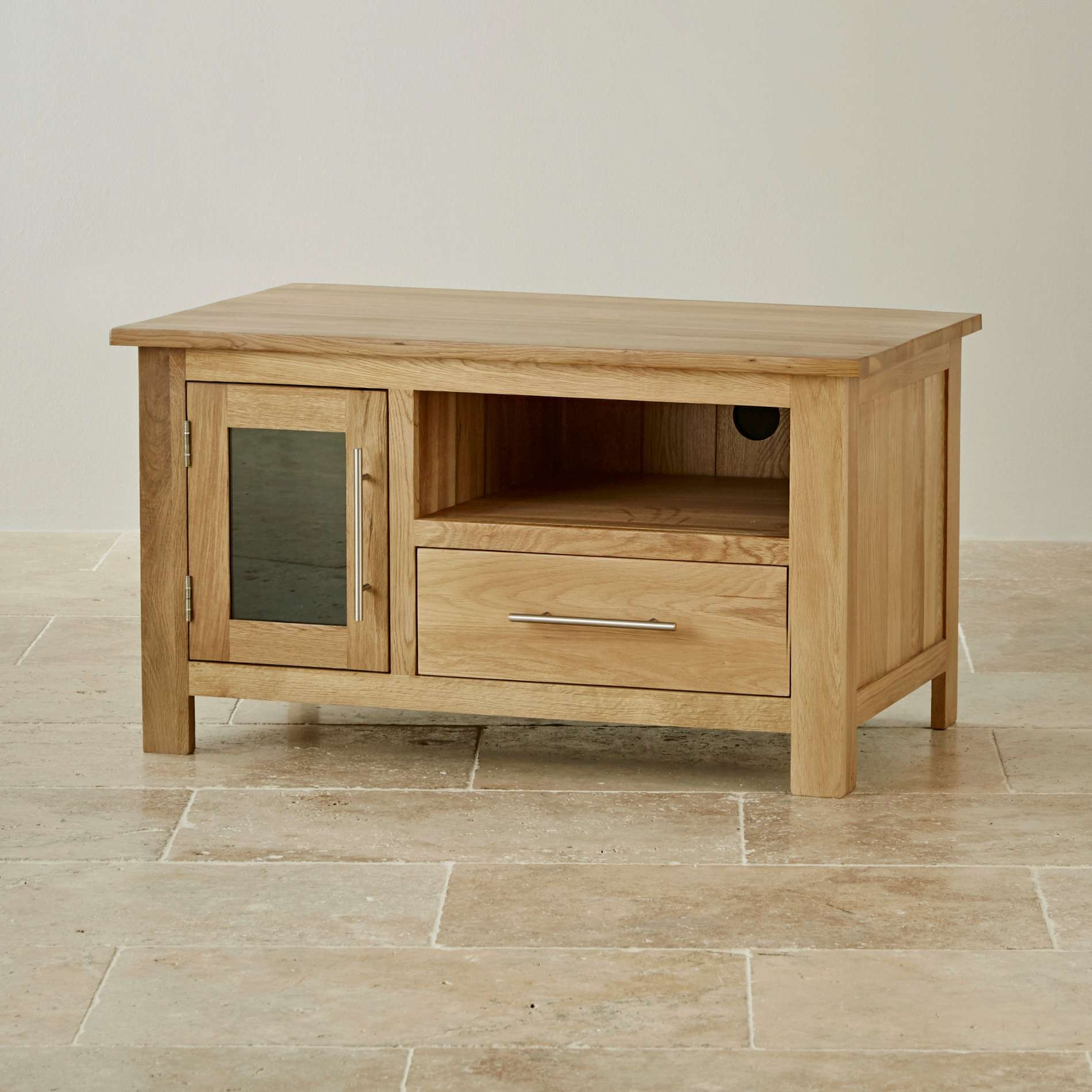 Rivermead Natural Solid Oak Tv + Dvd Cabinet | Lounge Furniture For Oak Tv Cabinets (View 8 of 20)