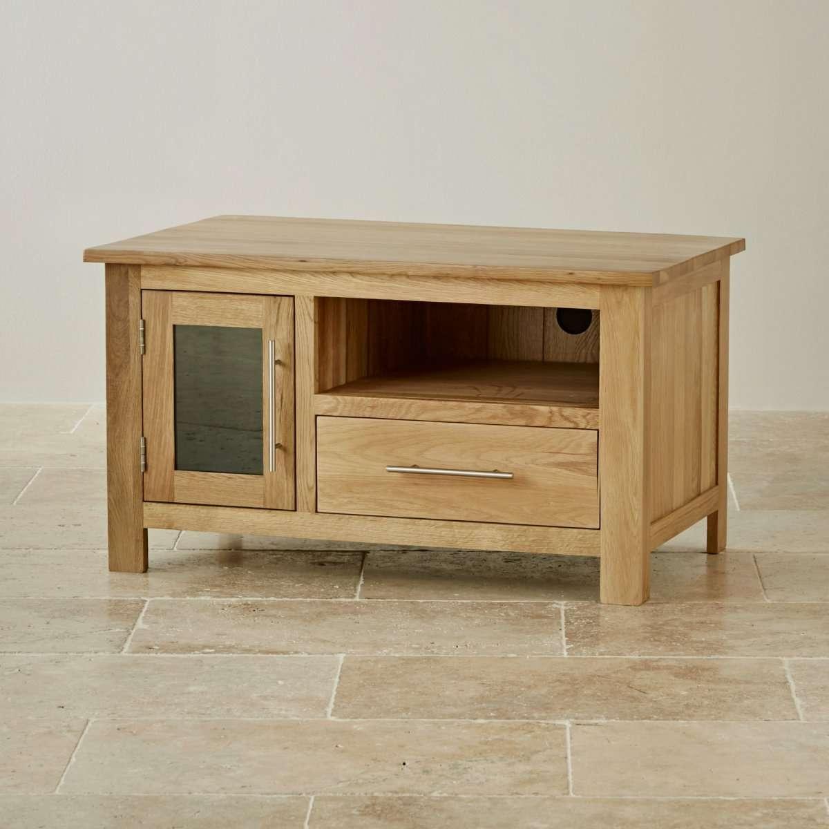 Rivermead Natural Solid Oak Tv + Dvd Cabinet   Lounge Furniture Regarding Small Oak Tv Cabinets (View 6 of 20)