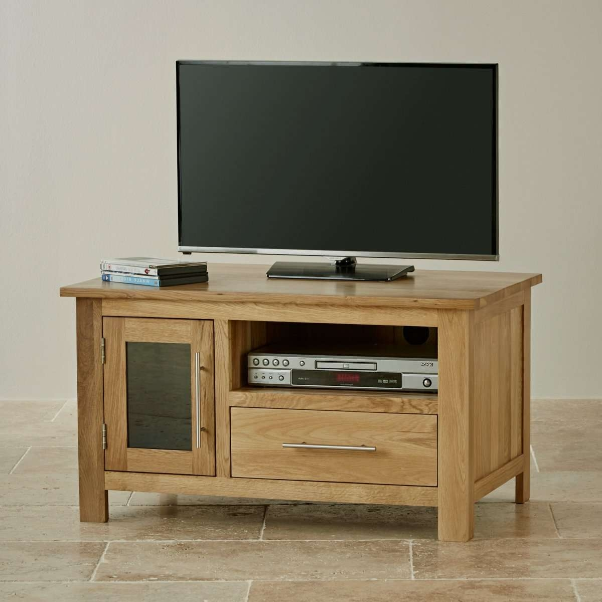 Rivermead Natural Solid Oak Tv + Dvd Cabinet | Lounge Furniture Within Small Tv Cabinets (View 6 of 20)