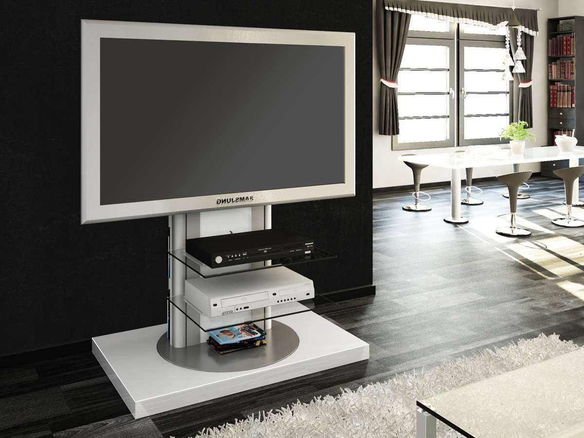 Roma White Swivel High Gloss Tv Stand | Modern Tv Stands Within Tv Stands Swivel Mount (View 10 of 15)