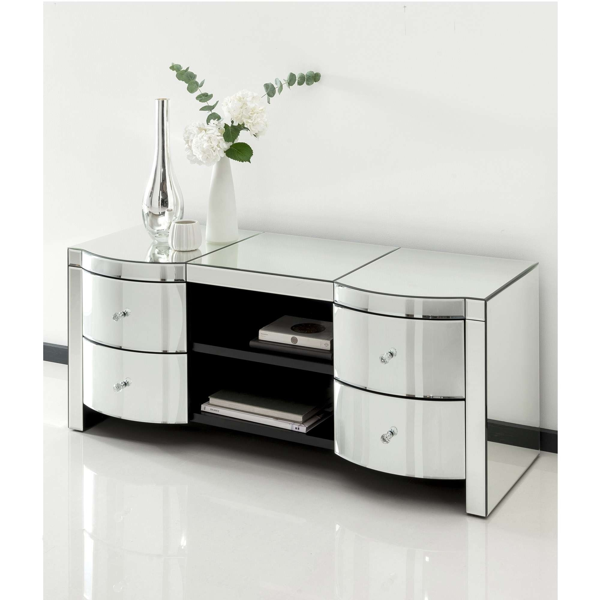 Romano Crystal Mirrored Tv Cabinet | Venetian Mirrored Furniture For Mirrored Tv Cabinets (View 1 of 20)