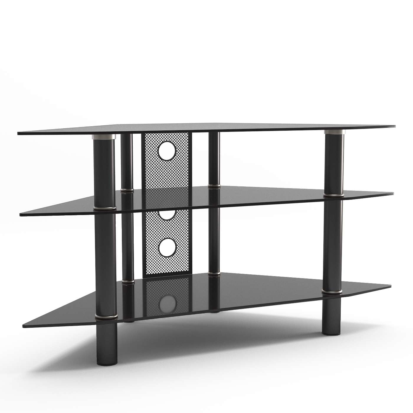 Ruby 44 Inch Corner Glass Tv Stand In Black Throughout Glass Tv Stands (View 8 of 15)