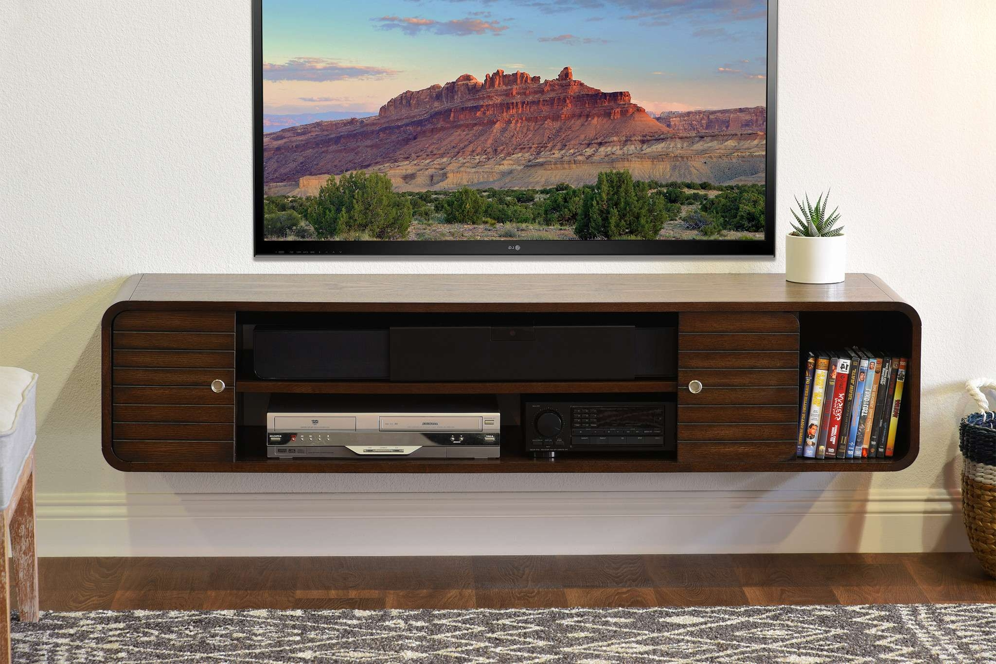 Rustic Brown Polished Oak Wood Wall Mounted Tv Cabinet Shelf With With Regard To Under Tv Cabinets (View 10 of 20)