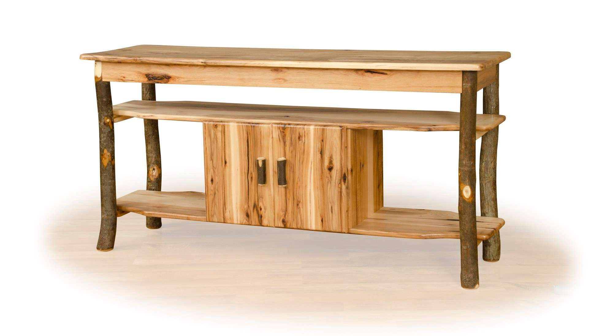 Rustic Hickory Tv Stand With Center Cabinet Intended For Rustic Furniture Tv Stands (View 13 of 20)