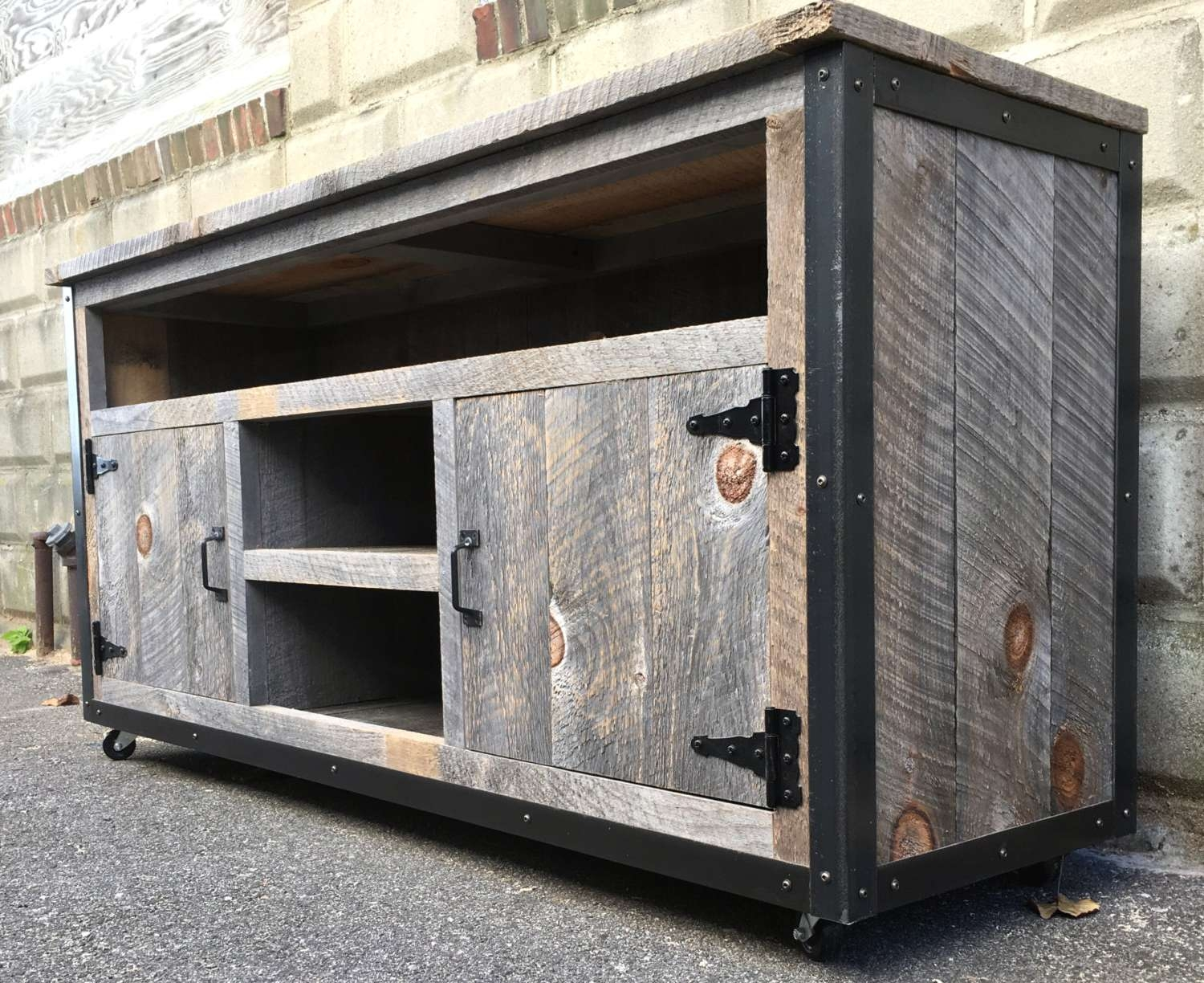 Rustic Industrial Weathered Barn Board Entertainment Center Tv With Reclaimed Wood And Metal Tv Stands (View 9 of 20)