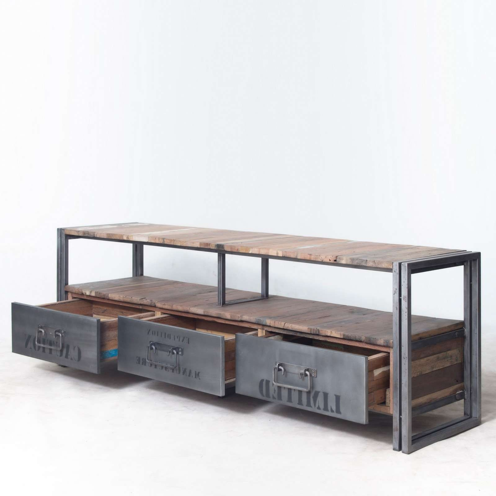 Rustic Industrial Wooden And Metal Tv Stand With Drawers Plus Within Industrial Metal Tv Stands (View 11 of 15)