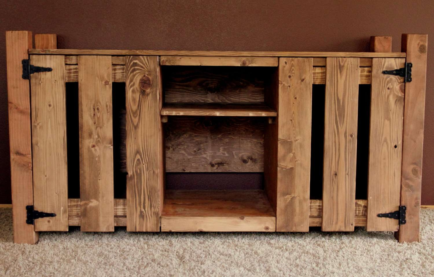 Rustic Knotty Pine Tv Stand/hutch Pertaining To Pine Tv Stands (View 9 of 20)