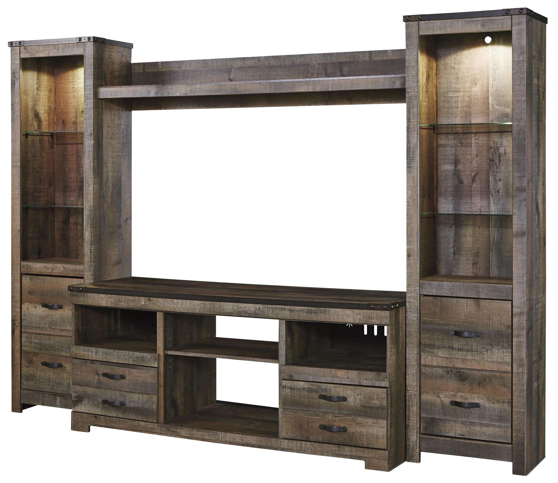Rustic Large Tv Stand & 2 Tall Piers W/ Bridgesignature Design Regarding Rustic Furniture Tv Stands (View 14 of 20)