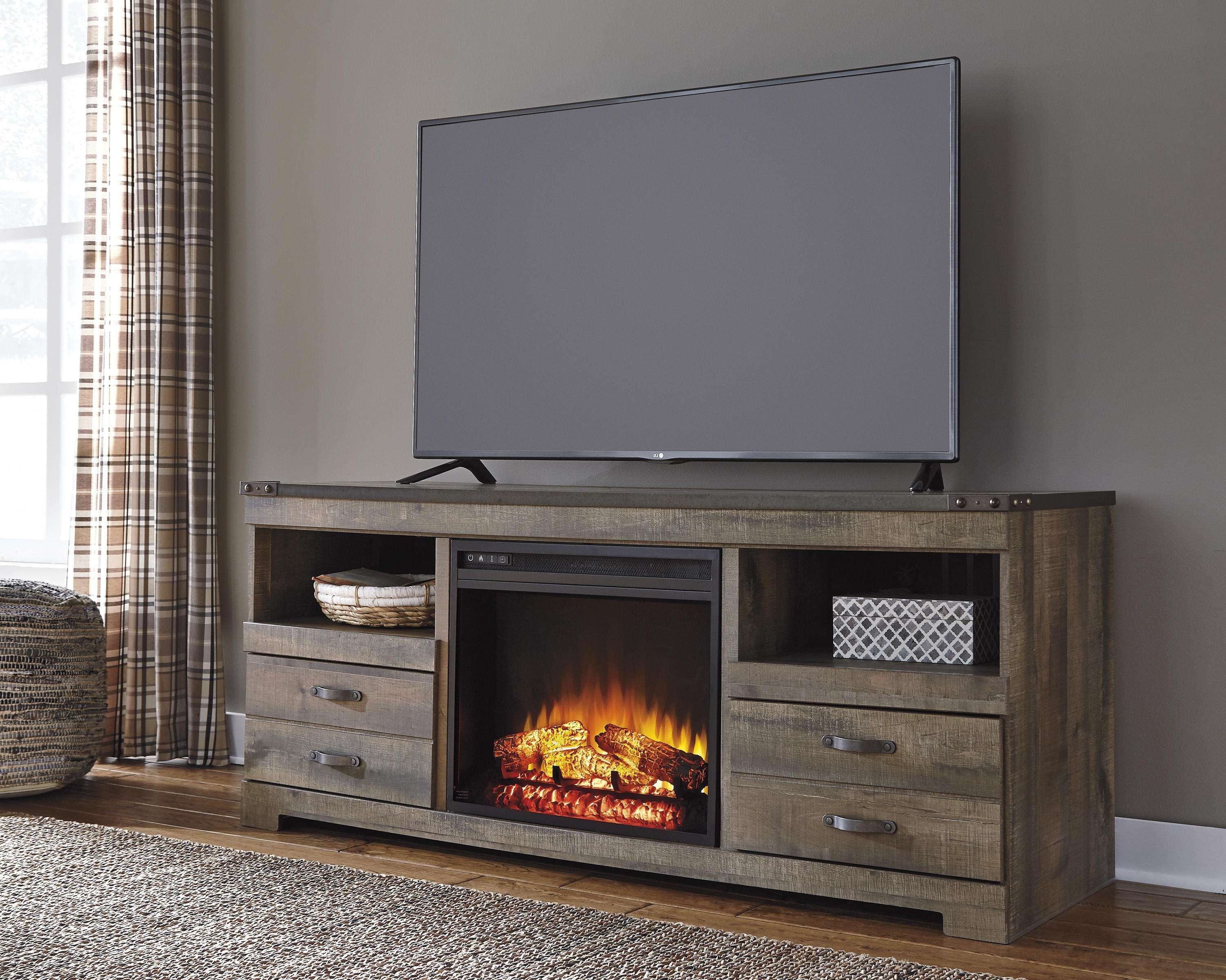 Rustic Large Tv Stand With Fireplace Insertsignature Design Throughout Rustic Looking Tv Stands (View 4 of 15)