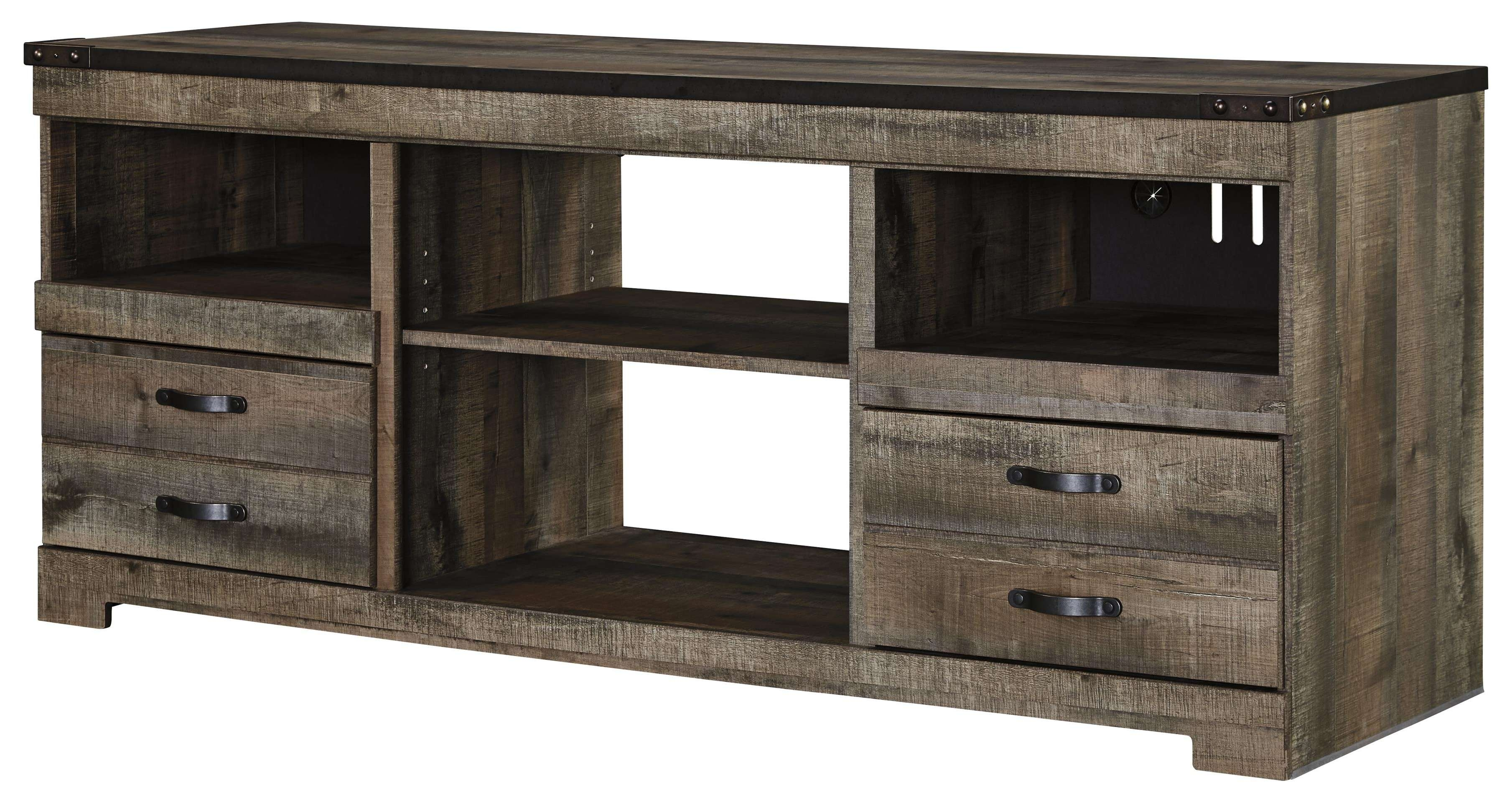 Rustic Large Tv Stand With Metal Rivet Detailsignature Design Intended For Rustic Furniture Tv Stands (View 10 of 20)