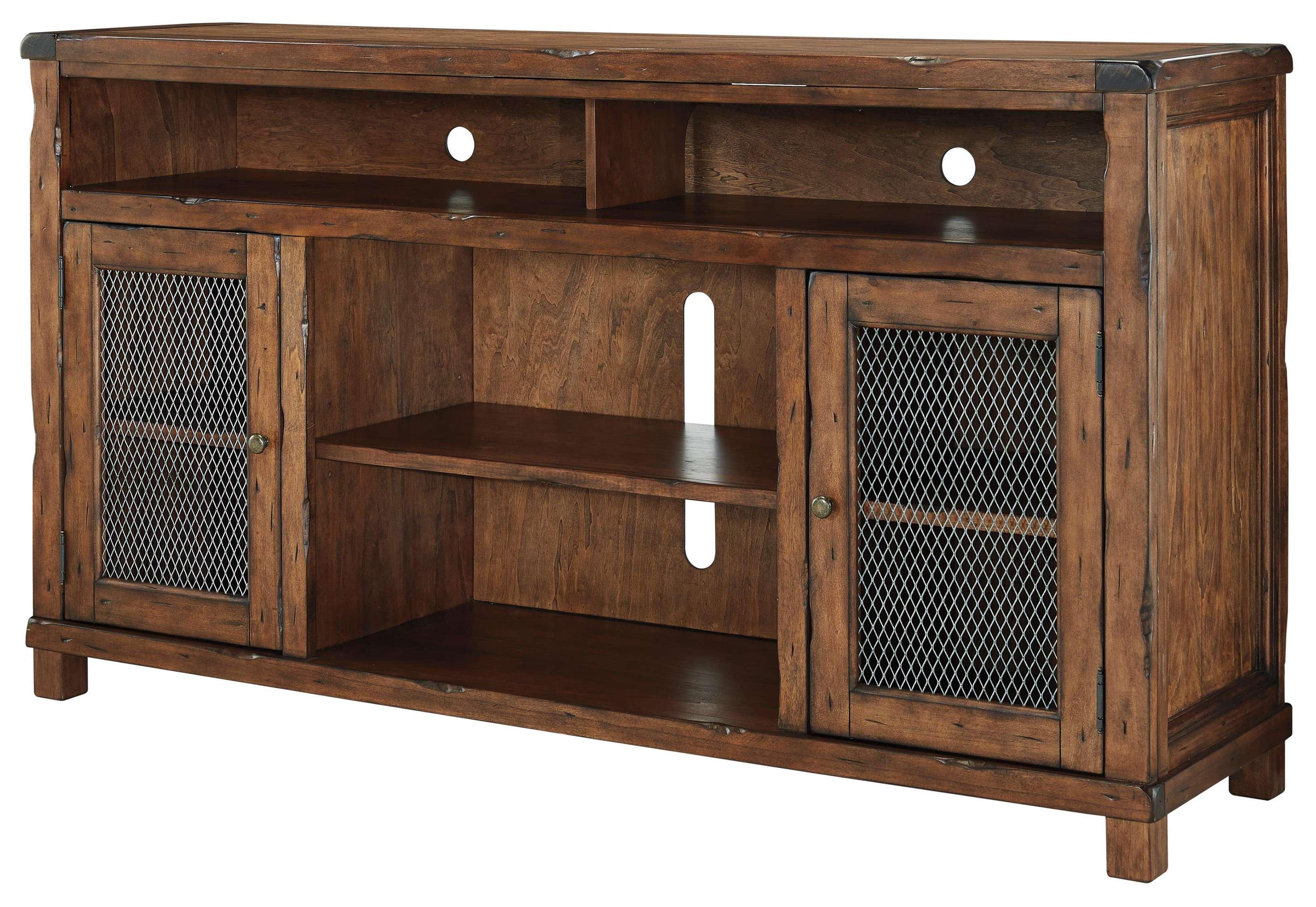 Rustic Mango Veneer Xl Tv Stand With Wire Mesh Doorssignature Regarding Rustic Furniture Tv Stands (View 16 of 20)
