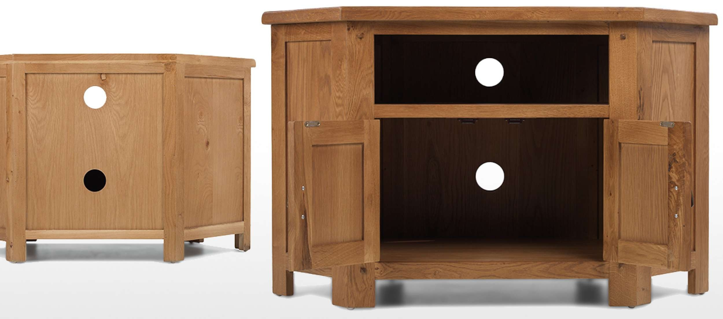 Rustic Oak Corner Tv Cabinet | Quercus Living Within Rustic Oak Tv Stands (View 10 of 15)