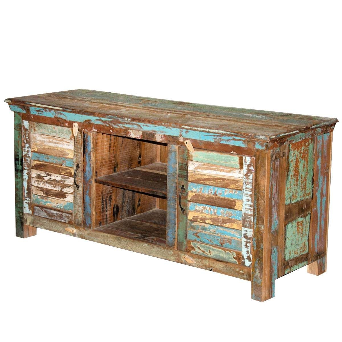 Rustic Shutter Doors Reclaimed Wood Tv Stand Media Console Pertaining To Wooden Tv Stands (View 4 of 15)