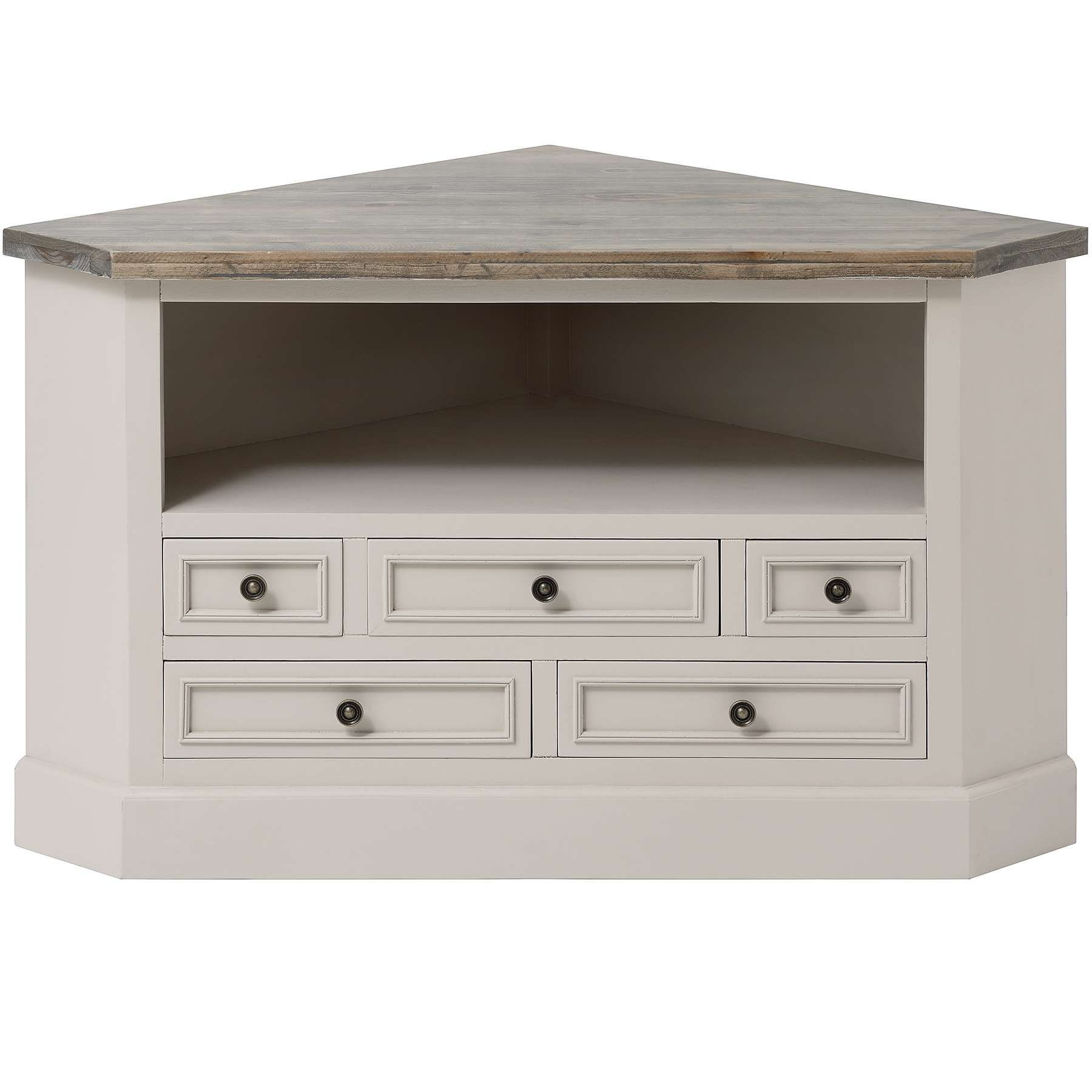 Rustic White Painted Walnut Wood Corner Tv Stand With Drawers Of Regarding White Wood Corner Tv Stands (View 8 of 15)