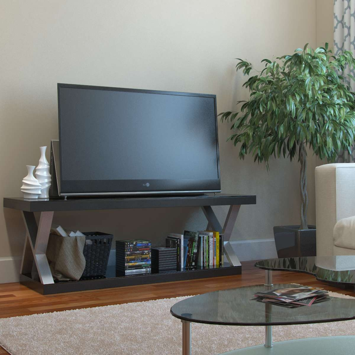 Ryan Rove Hayden Double V Design 60 Inch Modern Tv Stand Pertaining To Modern Tv Stands For 60 Inch Tvs (View 11 of 15)