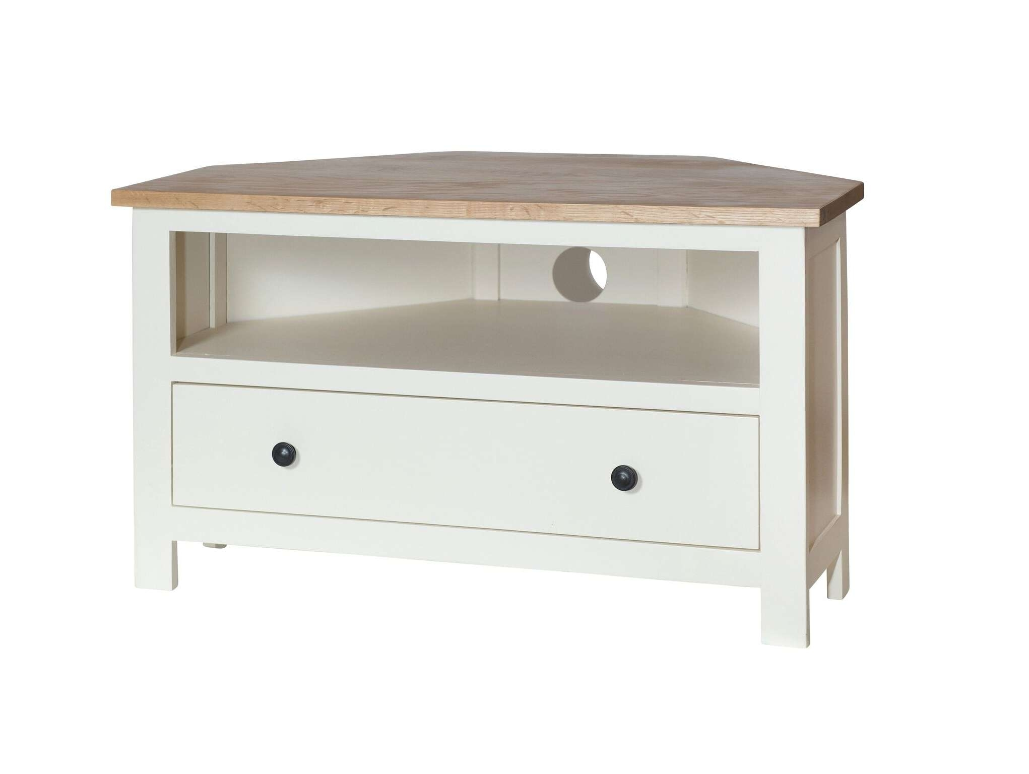 S0 – Cream Painted Oak Top Corner Tv Unit – Country Furniture Barn Inside Painted Corner Tv Cabinets (View 10 of 20)