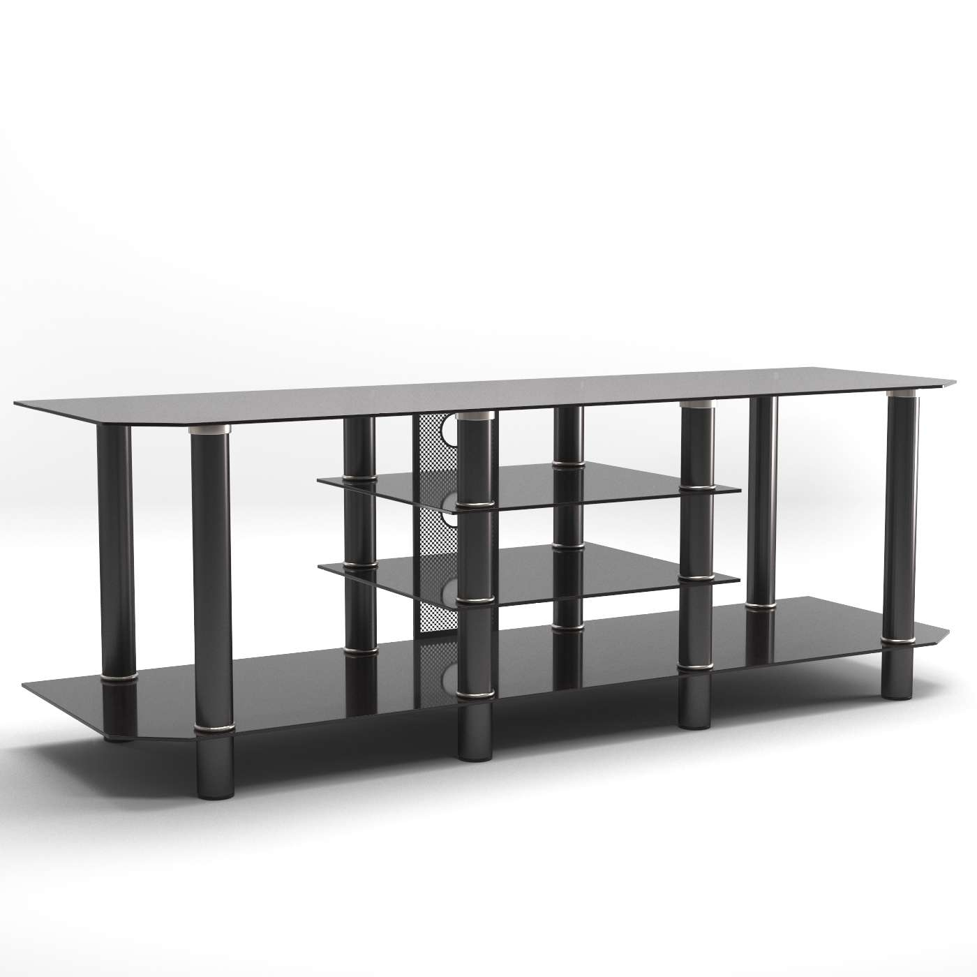 Salerno 60 Inch Glass Tv Stand In Black Intended For Black Glass Tv Stands (View 12 of 15)