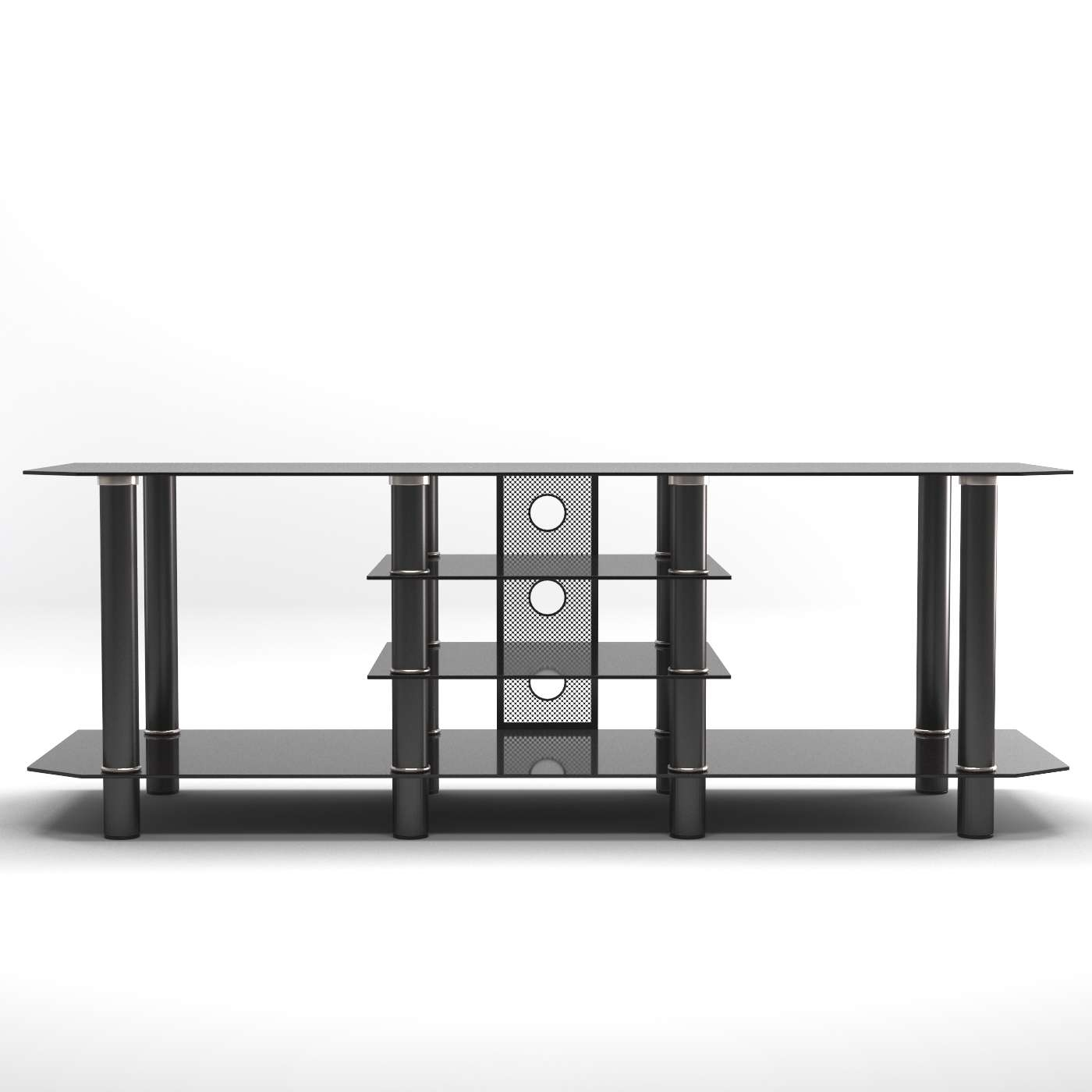 Salerno 60 Inch Glass Tv Stand In Black Regarding Modern Glass Tv Stands (View 13 of 15)