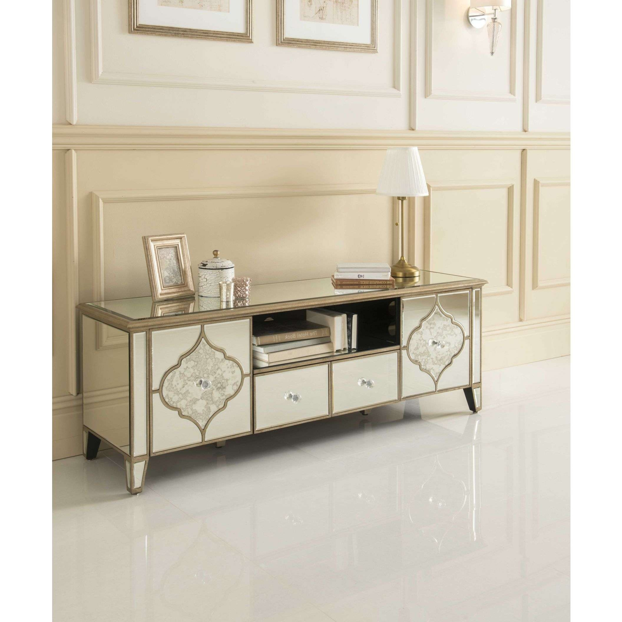 Sassari Mirrored Tv Cabinet | Glass Furniture Intended For Mirror Tv Cabinets (View 2 of 20)