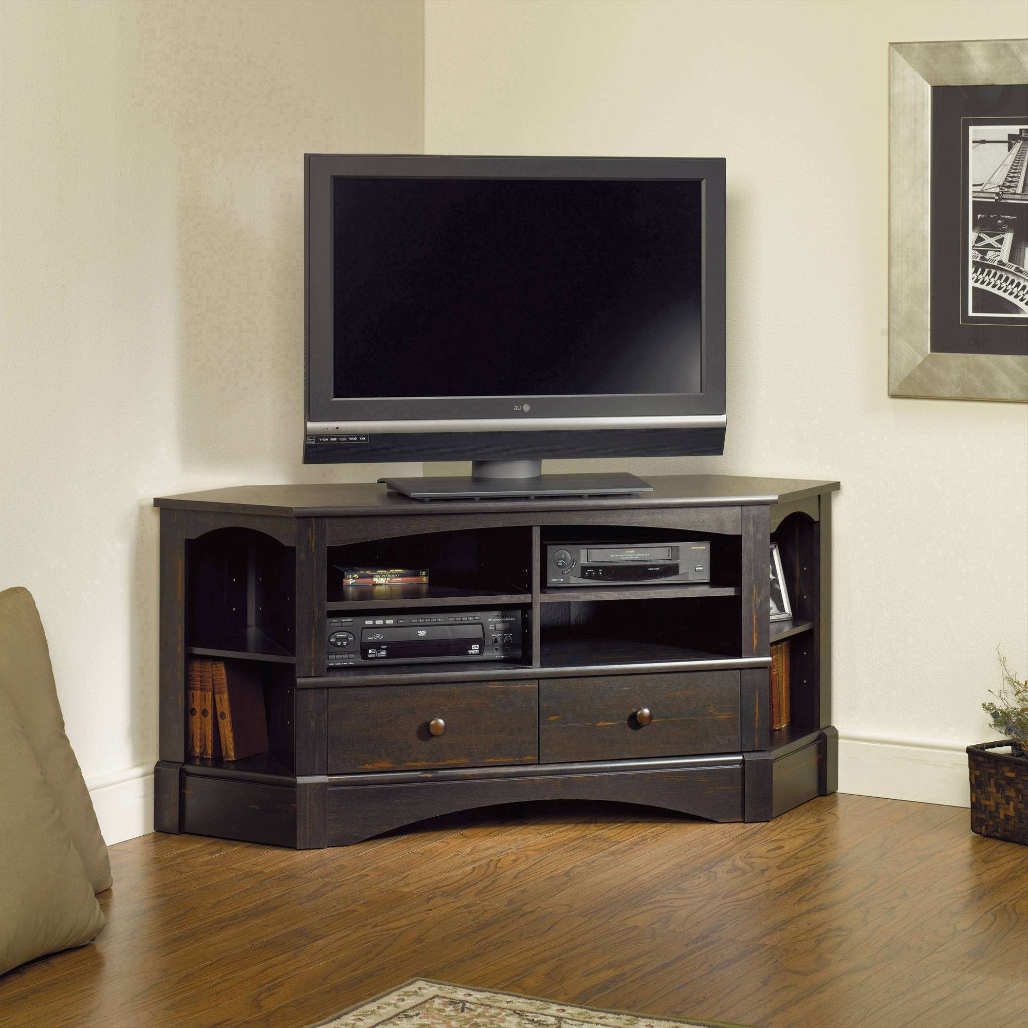 Sauder Harbor View Corner Entertainment Credenza For Tvs Up To 42 Throughout Corner Tv Stands 46 Inch Flat Screen (View 10 of 15)