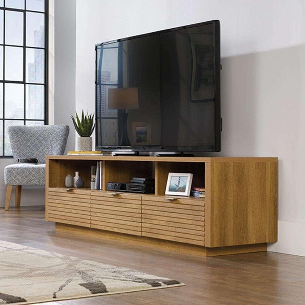 Sauder Harvey Park Grand Walnut Entertainment Credenza 420834 Regarding Harveys Wooden Tv Stands (View 3 of 15)