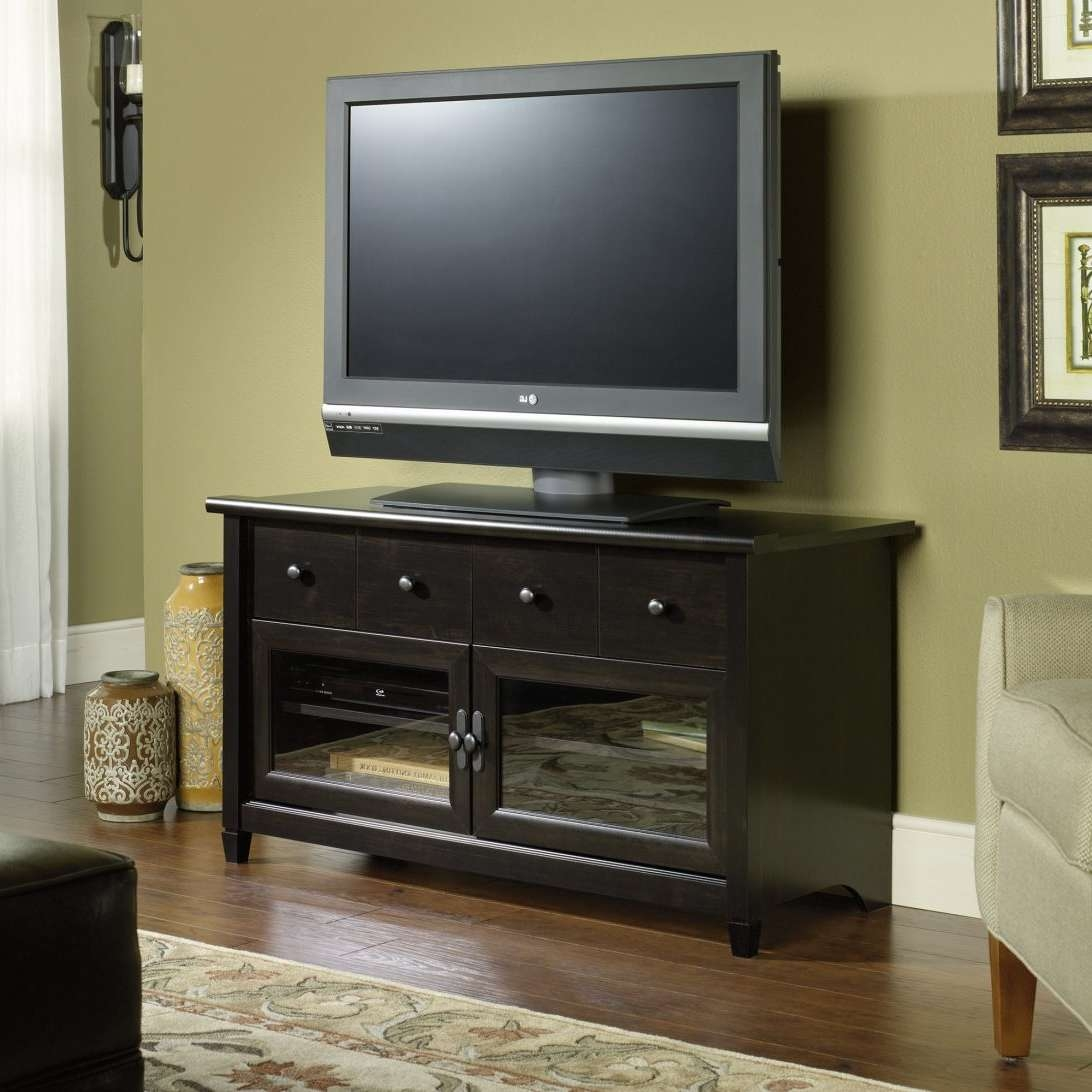 Sauder Media Storage Edge Water Panel Tv Stand Harbor View Inside Tv Stands With Storage Baskets (View 7 of 15)