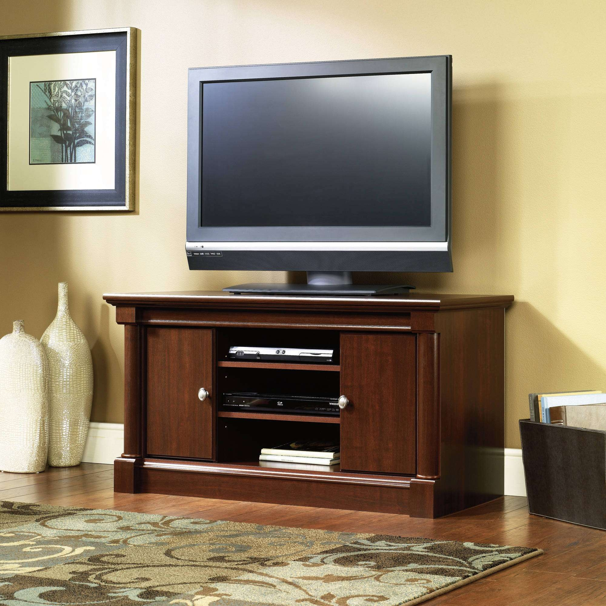 Sauder Palladia Entertainment Center Value Bundle, Cherry For Cherry Wood Tv Stands (View 1 of 15)