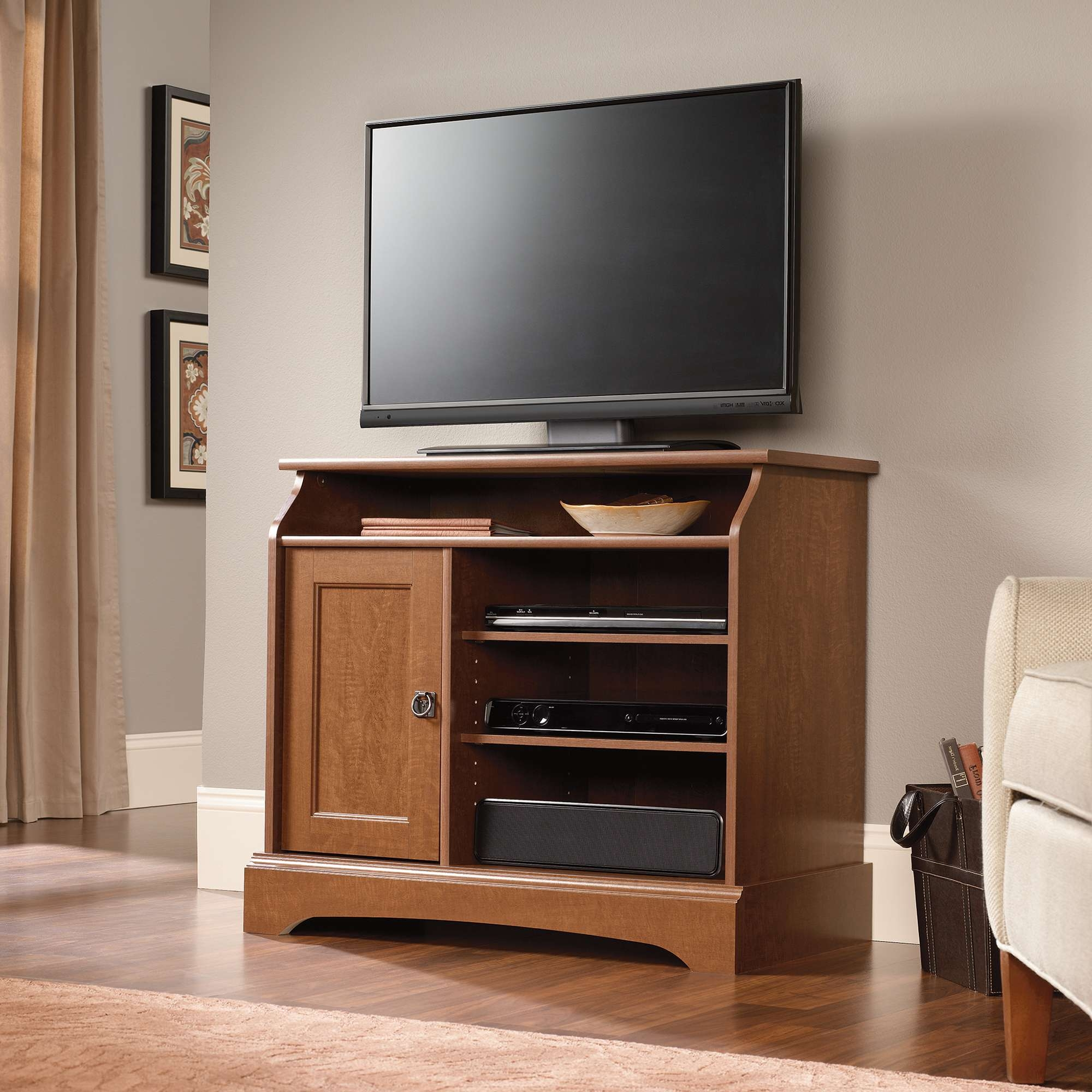 Sauder Select | Highboy Tv Stand | 408972 | Sauder Throughout Maple Wood Tv Stands (View 5 of 15)