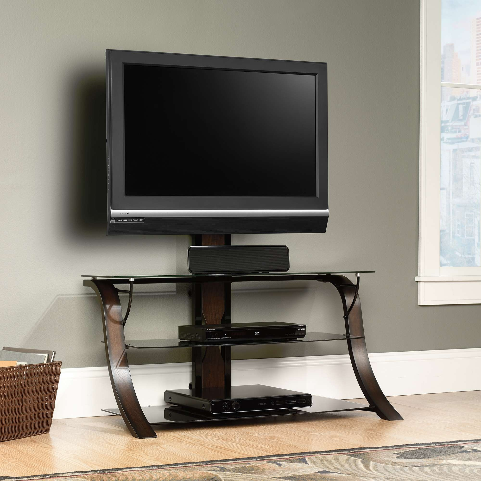 Sauder Select | Veer Tv Stand With Mount | 413906 | Sauder Regarding Contemporary Tv Stands For Flat Screens (View 5 of 15)