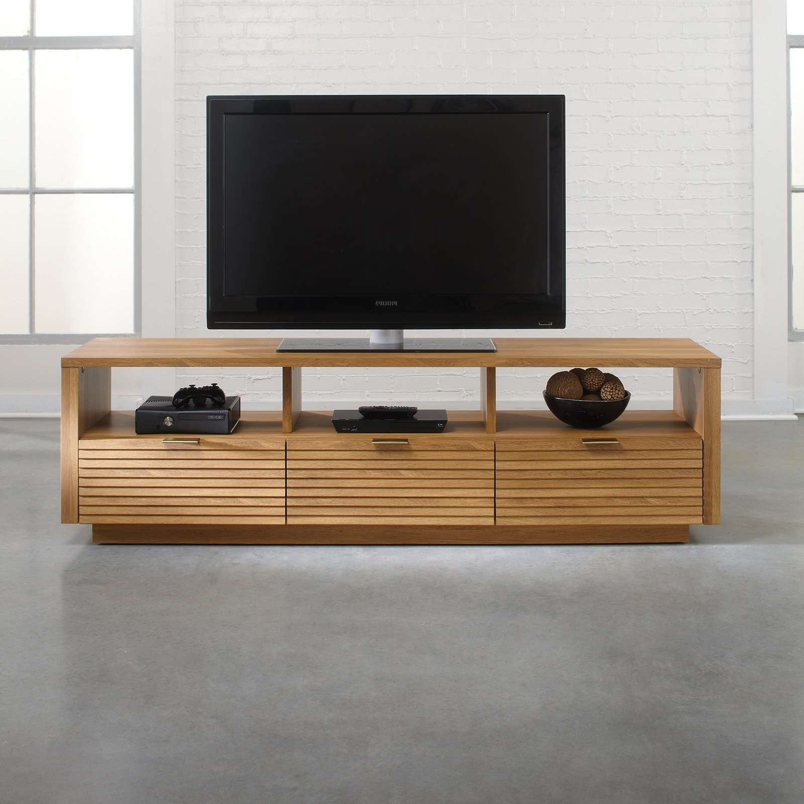 Sauder Soft Modern Entertainment Credenza – Pale Oak | Hayneedle Within Contemporary Oak Tv Stands (View 8 of 15)