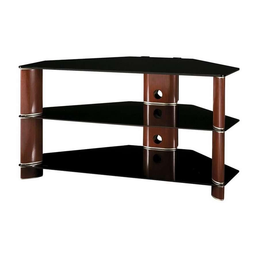 Shop Bush Furniture Segments Rosebud Cherry/bright Silver Corner Regarding Silver Corner Tv Stands (View 13 of 15)